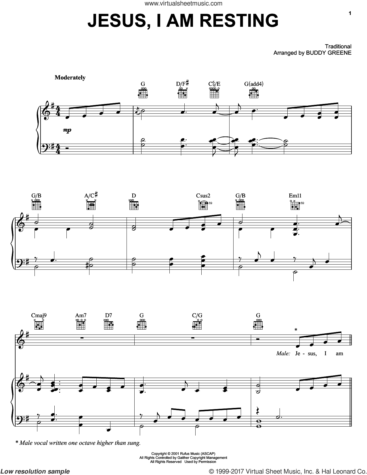 Jesus, I Am Resting sheet music for voice, piano or guitar by The Martins and Buddy Greene, intermediate skill level