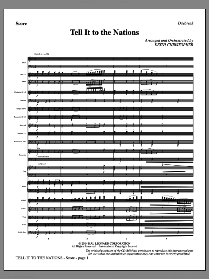 Tell It to the Nations (COMPLETE) sheet music for orchestra/band by Keith Christopher, A. Catherine Hankey and William G. Fischer, intermediate skill level