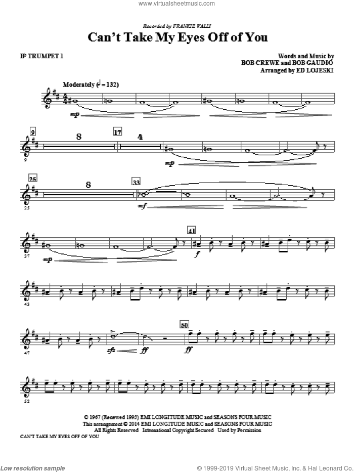 Can't Take My Eyes Off Of You (from Jersey Boys) (arr. Ed Lojeski) (complete set of parts) sheet music for orchestra/band by Ed Lojeski, Bob Crewe, Bob Gaudio, Frankie Valli, Frankie Valli & The Four Seasons and The Four Seasons, intermediate skill level