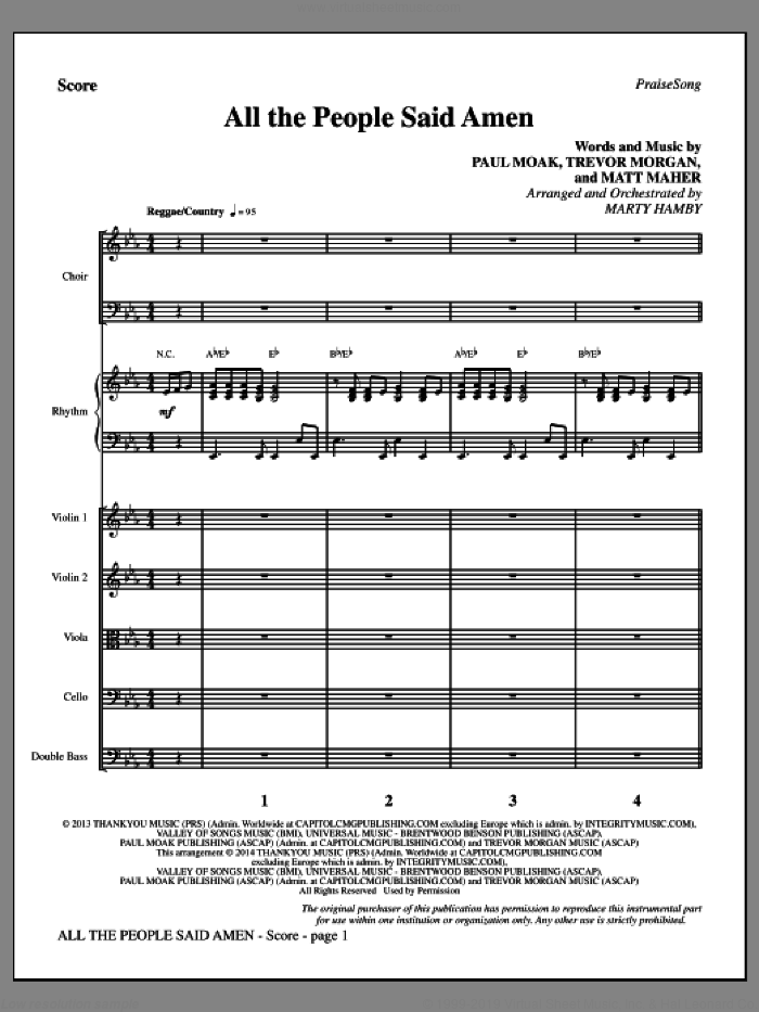 All the People Said Amen (COMPLETE) sheet music for orchestra/band by Matt Maher, Marty Hamby, Paul Moak and Trevor Morgan, intermediate skill level
