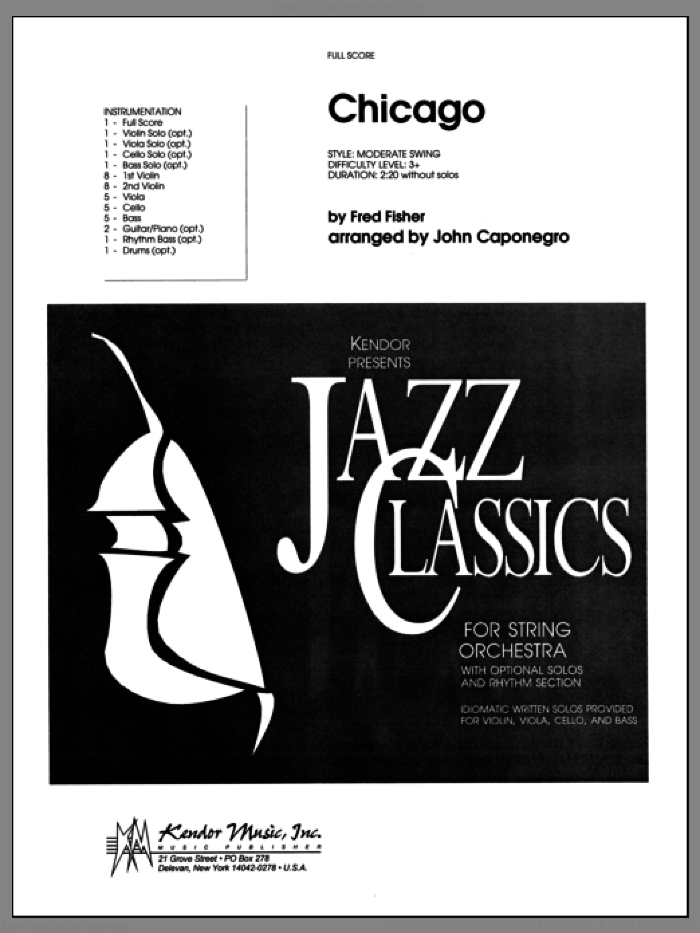 Chicago (COMPLETE) sheet music for full orchestra by John Caponegro and Fred Fisher, intermediate skill level