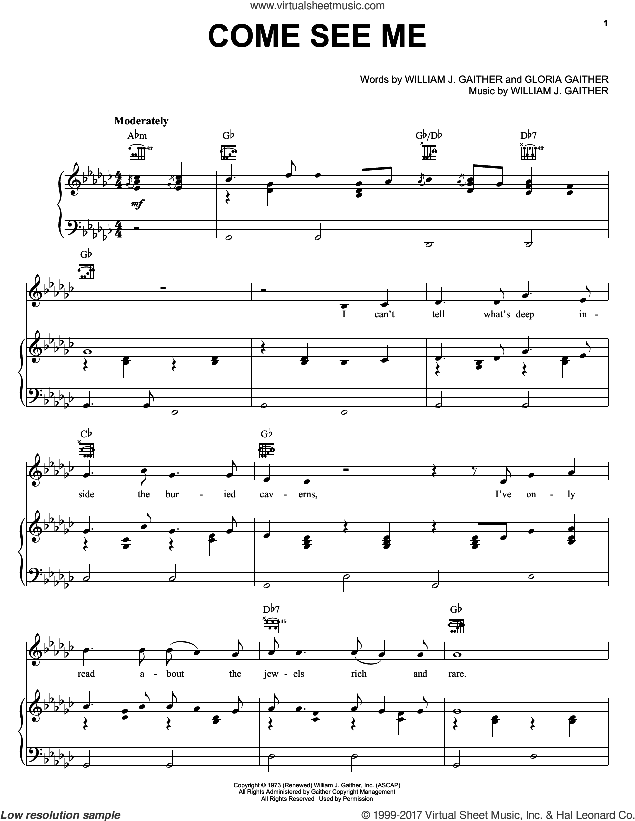Come See Me sheet music for voice, piano or guitar by The Hoppers, Gloria Gaither and William J. Gaither, intermediate skill level