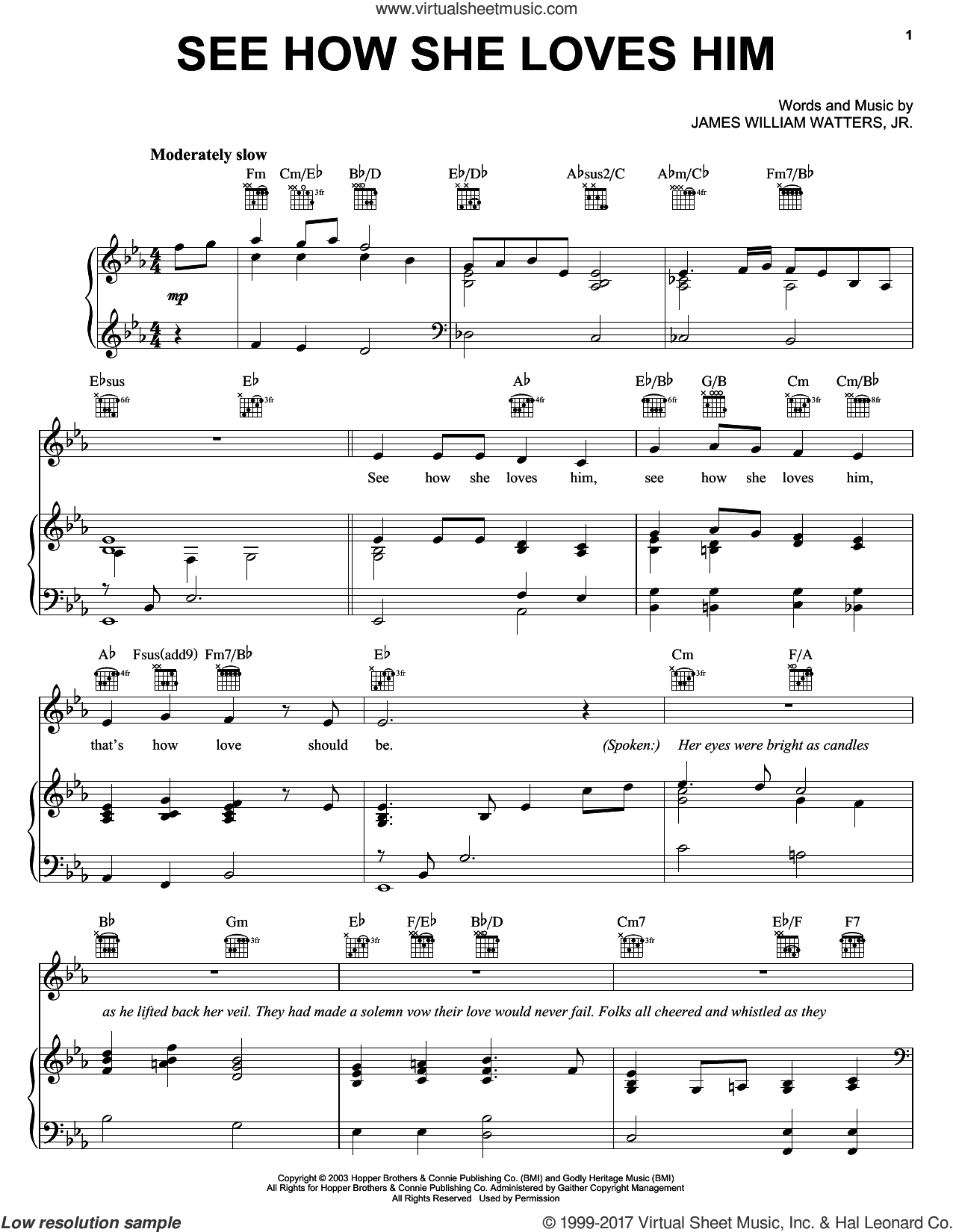 See How She Loves Him sheet music for voice, piano or guitar by The Hoppers and James William Watters, Jr., intermediate skill level