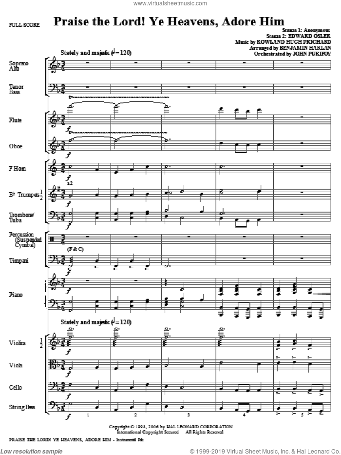 Praise The Lord! Ye Heavens, Adore Him (complete set of parts) sheet music for orchestra/band (Orchestra) by Benjamin Harlan and Rowland Prichard, intermediate. Score Image Preview.