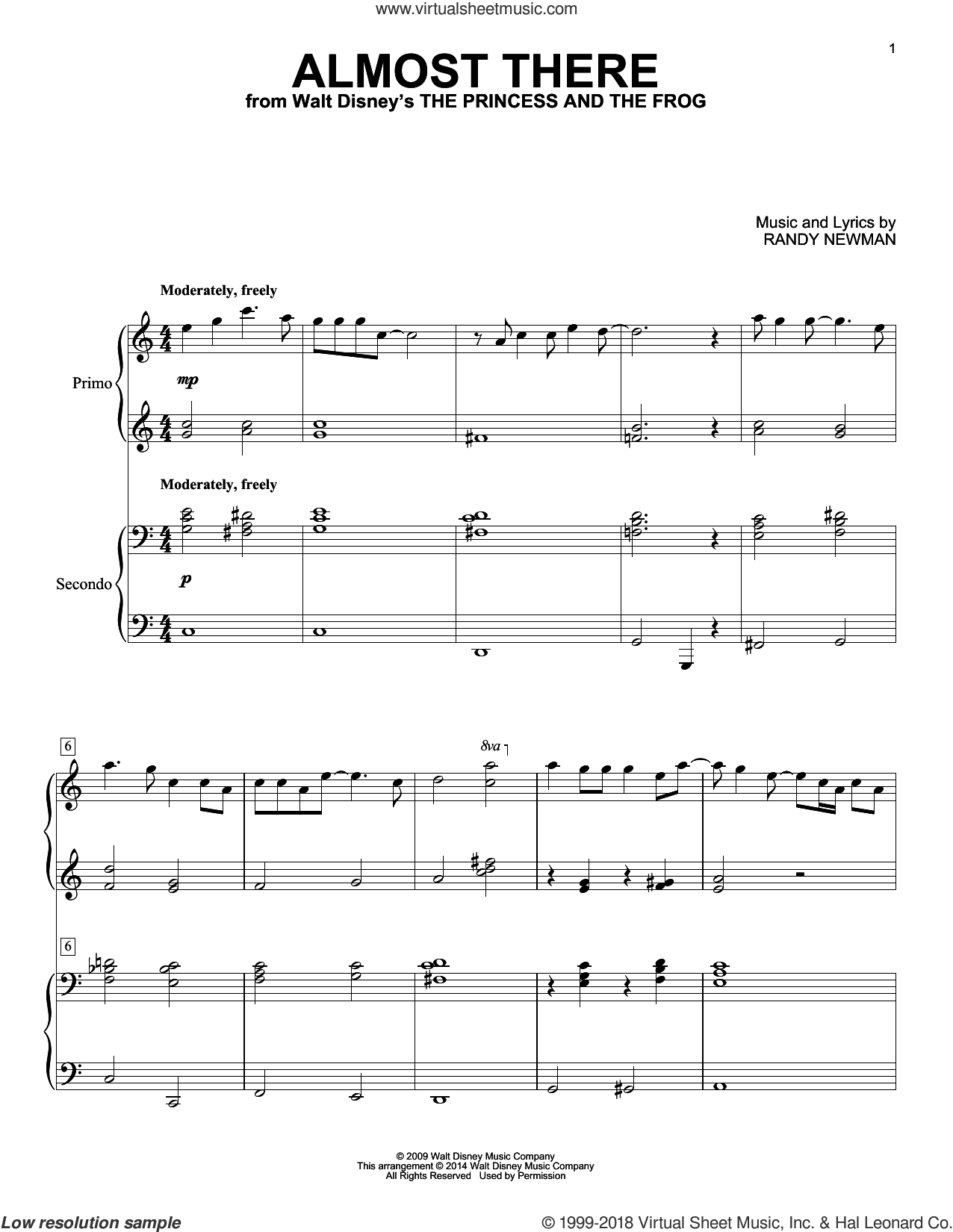 Almost There sheet music for piano four hands by Randy Newman, intermediate skill level