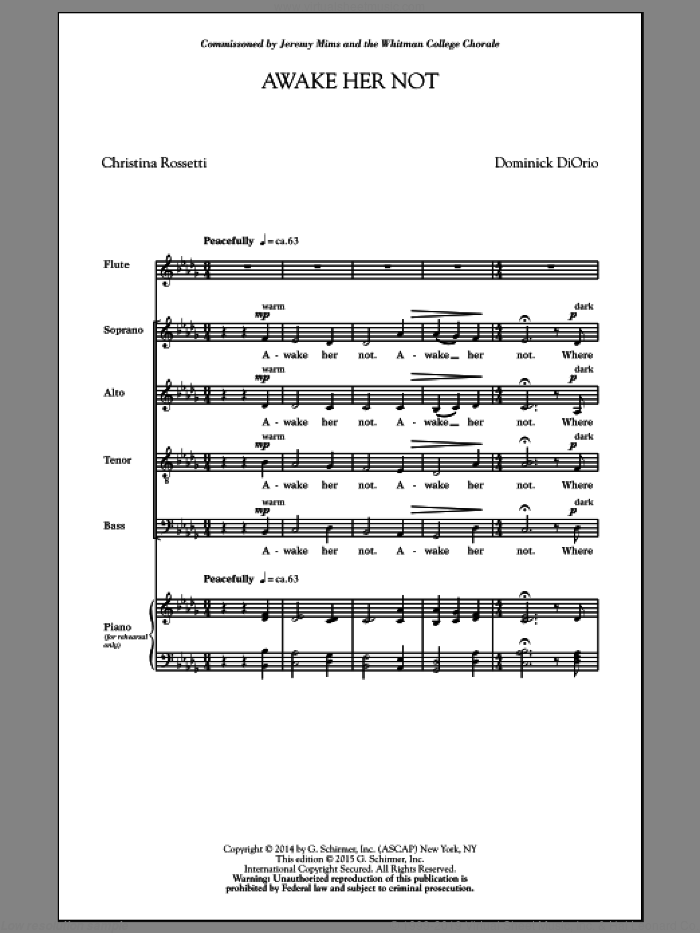 Awake Her Not sheet music for choir by Dominick Diorio, classical score, intermediate skill level