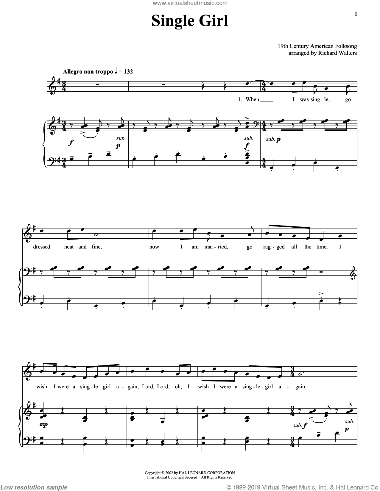 Single Girl sheet music for voice and piano by Anonymous and 19th Century American Folksong, intermediate skill level