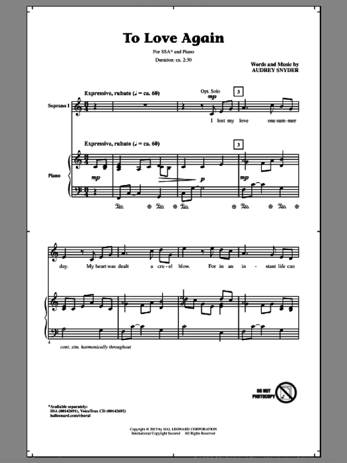 To Love Again sheet music for choir (soprano voice, alto voice, choir) by Audrey Snyder. Score Image Preview.