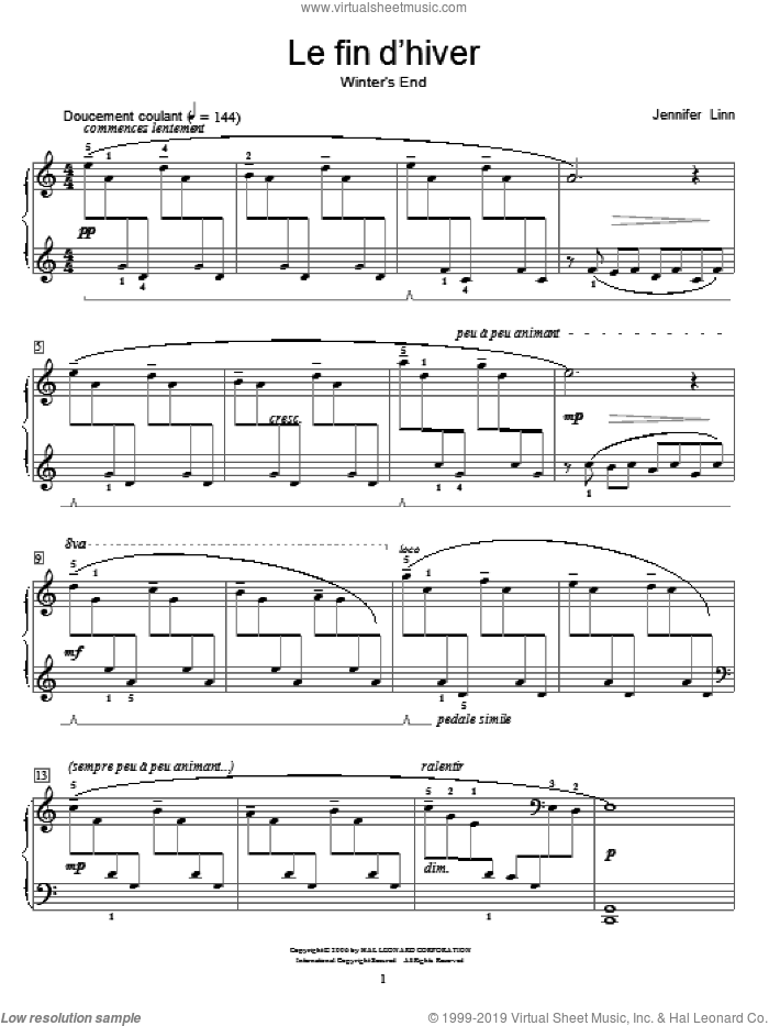 Le fin d'hiver (Winter's End) sheet music for piano solo (elementary) by Jennifer Linn