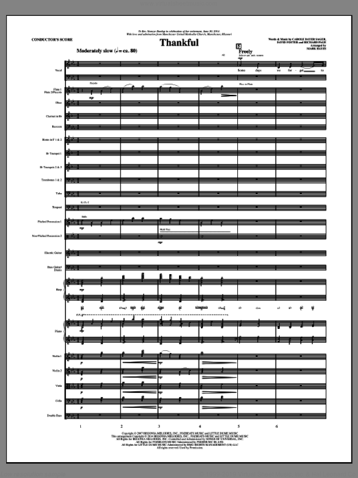 Thankful (COMPLETE) sheet music for orchestra/band by Mark Hayes, Carole Bayer Sager, David Foster and Josh Groban, intermediate. Score Image Preview.