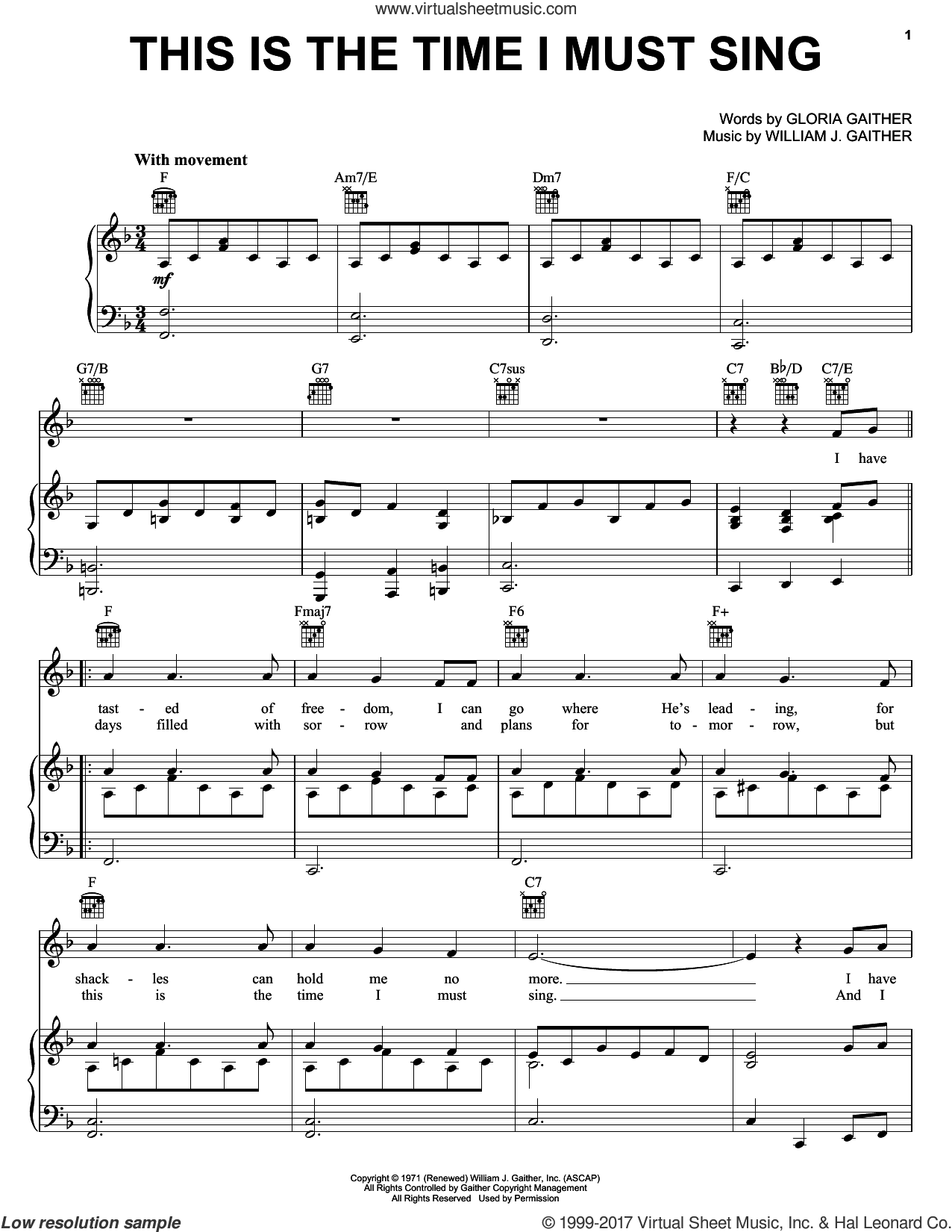 This Is The Time I Must Sing sheet music for voice, piano or guitar by Bill & Gloria Gaither, Bill Gaither, Gloria Gaither and William J. Gaither, intermediate skill level