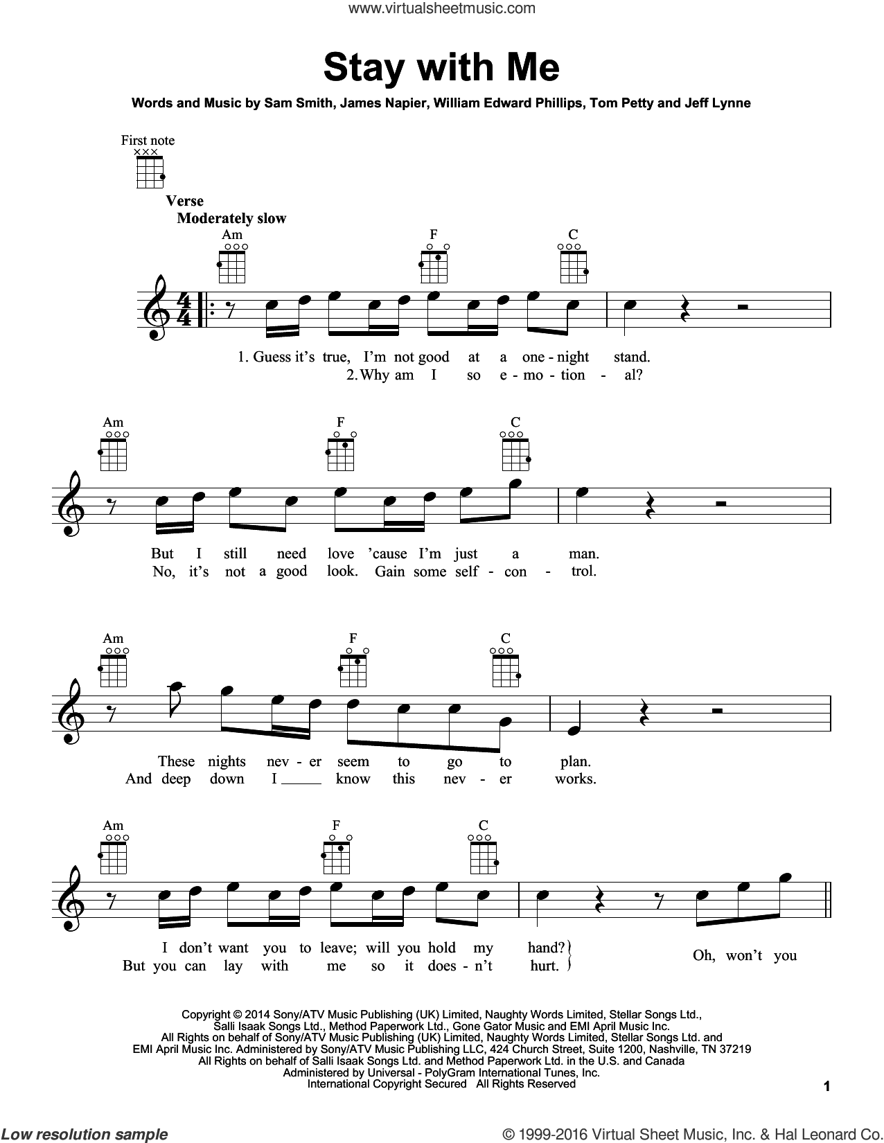 Stay With Me sheet music for ukulele by Sam Smith, James Napier and William Edward Phillips, intermediate