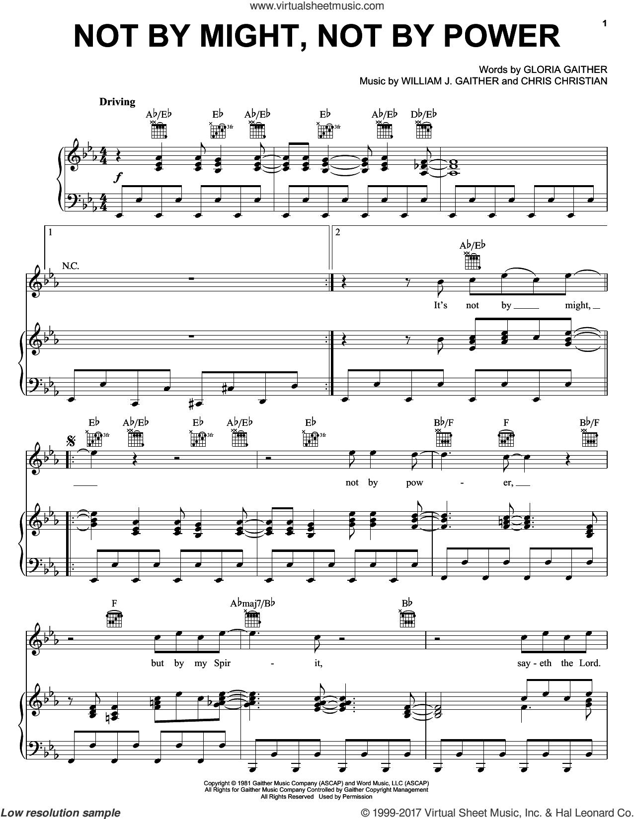 Not By Might, Not By Power sheet music for voice, piano or guitar by Bill & Gloria Gaither, Gloria Gaither and William J. Gaither, intermediate voice, piano or guitar. Score Image Preview.