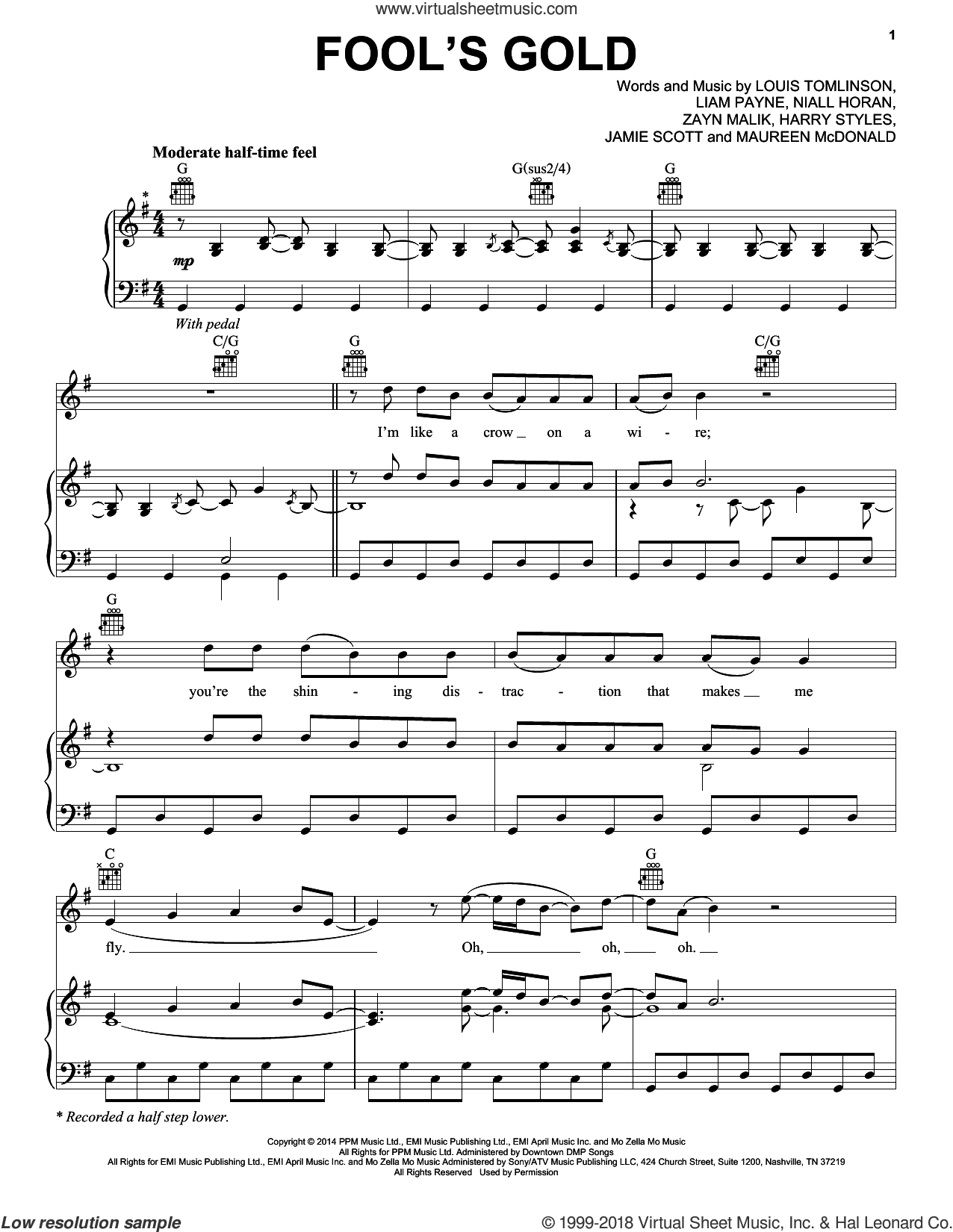 Fool's Gold sheet music for voice, piano or guitar by One Direction, Harry Styles, Jamie Scott, Liam Payne, Louis Tomlinson, Maureen McDonald, Niall Horan and Zayn Malik, intermediate