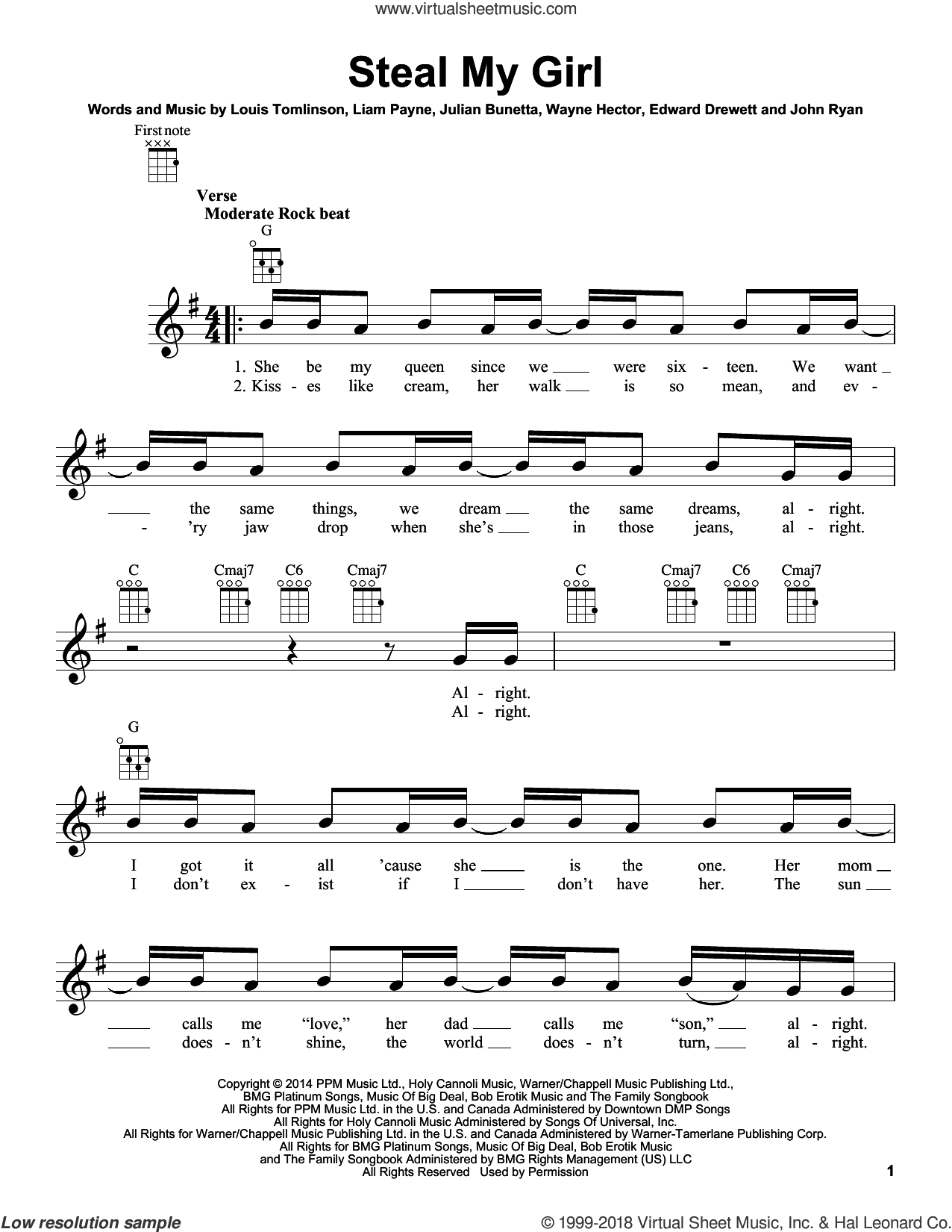 Steal My Girl sheet music for ukulele by One Direction, Edward Drewett, John Ryan, Julian Bunetta, Liam Payne, Louis Tomlinson and Wayne Hector. Score Image Preview.