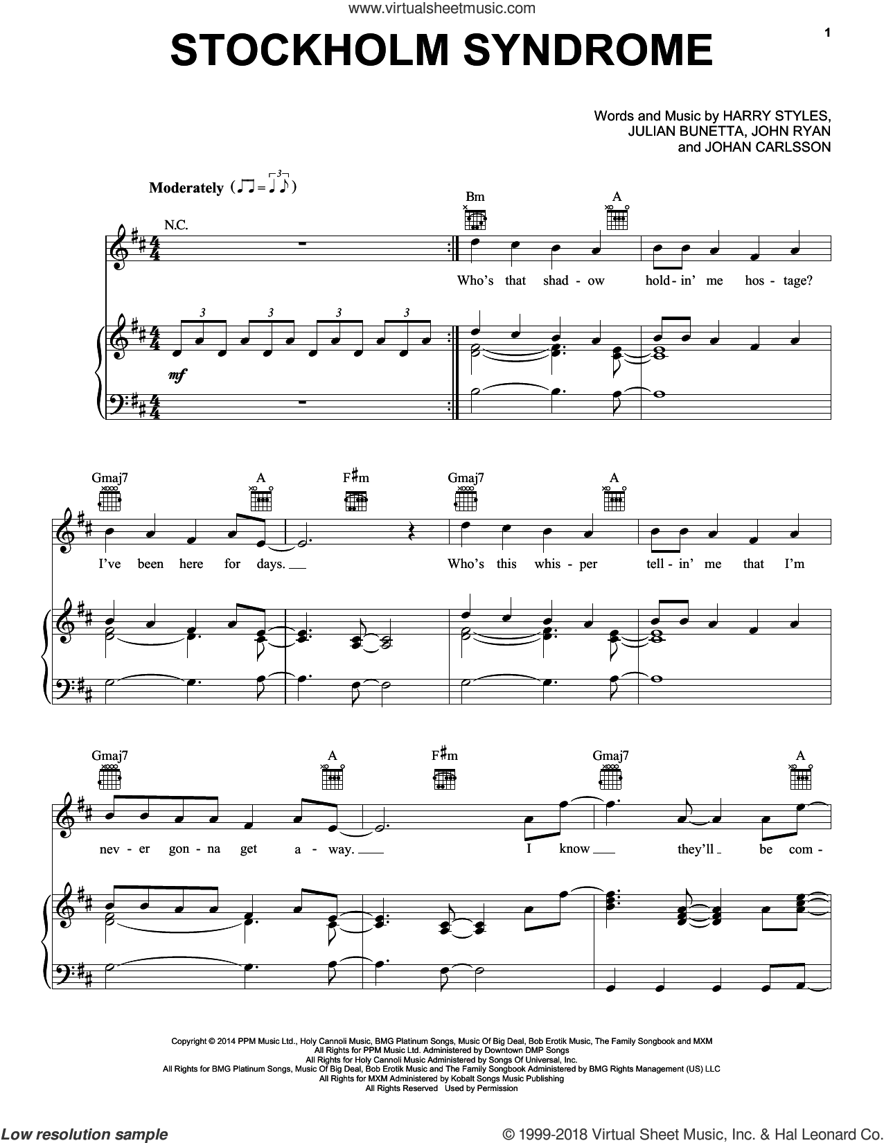 Stockholm Syndrome sheet music for voice, piano or guitar by One Direction, Harry Styles, Johan Carlsson, John Ryan and Julian Bunetta, intermediate skill level