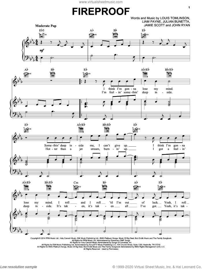 Fireproof sheet music for voice, piano or guitar by Louis Tomlinson, One Direction, Jamie Scott, John Ryan and Julian Bunetta. Score Image Preview.