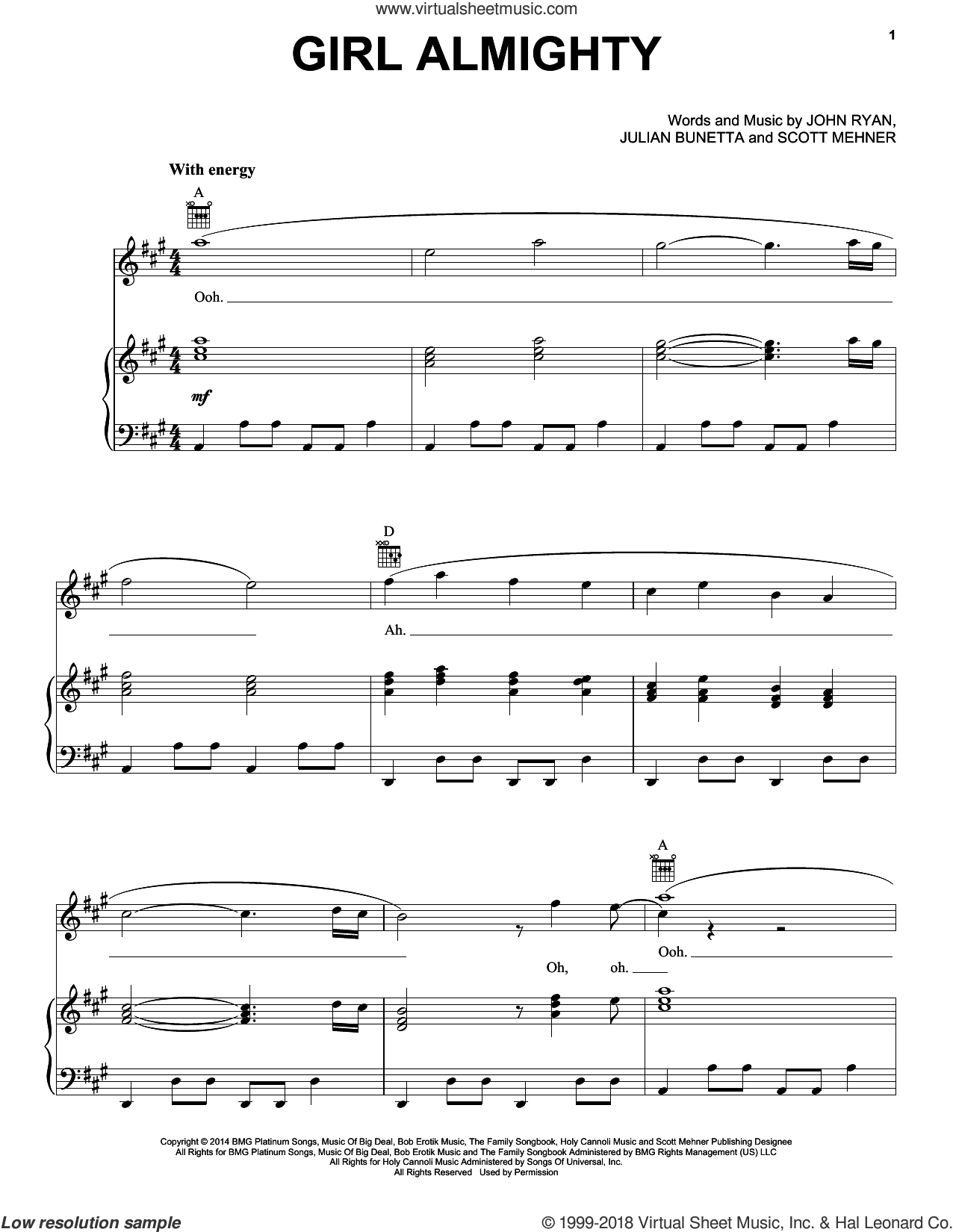 Girl Almighty sheet music for voice, piano or guitar by One Direction, John Ryan and Julian Bunetta. Score Image Preview.