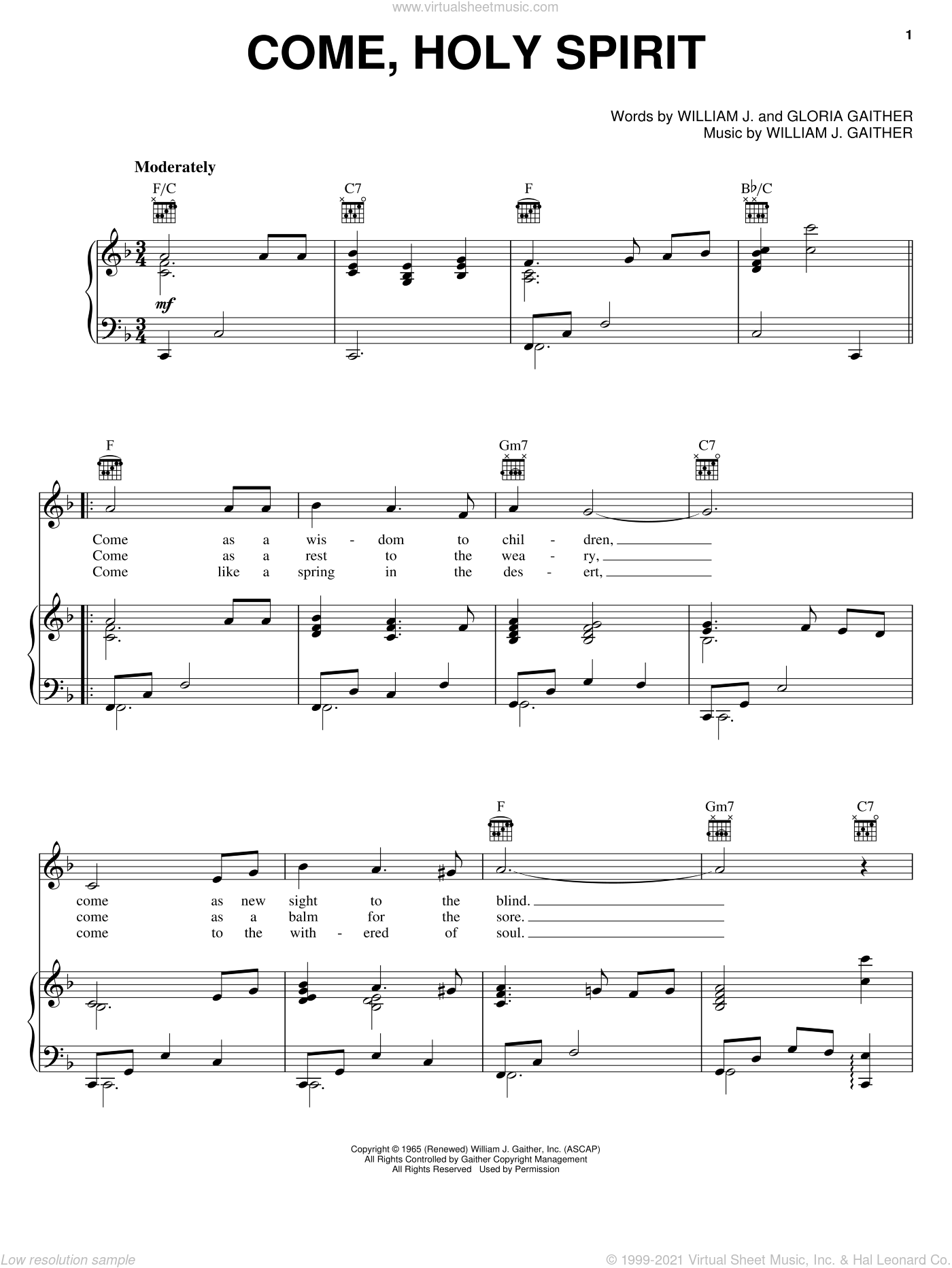 Come, Holy Spirit sheet music for voice, piano or guitar by Bill & Gloria Gaither, Bill Gaither, Gloria Gaither and William J. Gaither, intermediate skill level