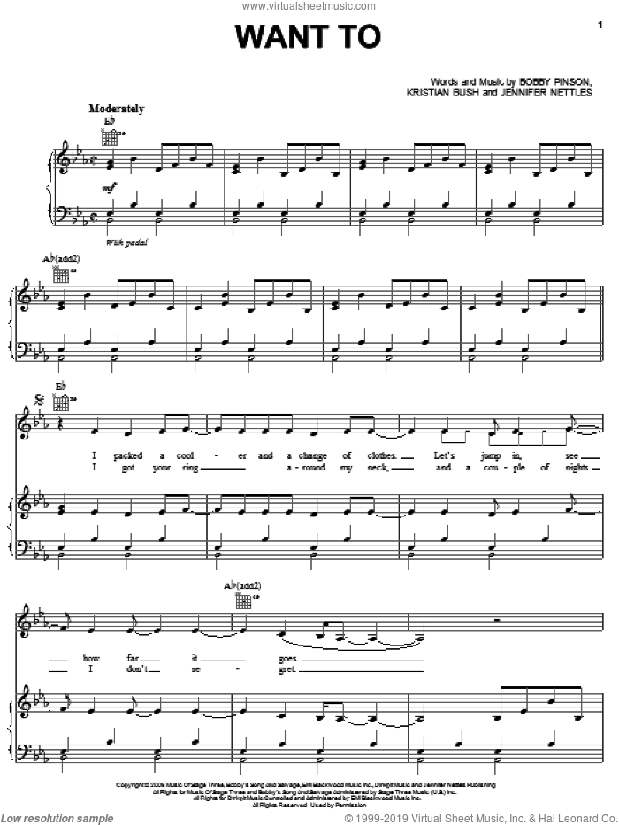 Want To sheet music for voice, piano or guitar by Sugarland, Bobby Pinson, Jennifer Nettles and Kristian Bush, intermediate skill level
