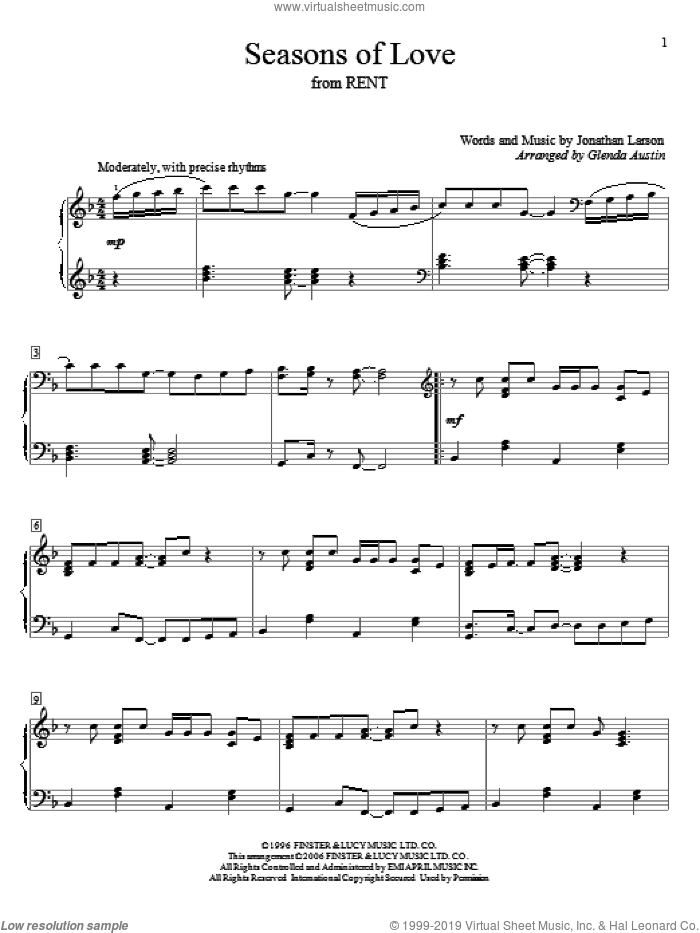 Seasons Of Love sheet music for piano solo (elementary) by Jonathan Larson, Glenda Austin and Rent (Musical), wedding score, beginner piano (elementary)