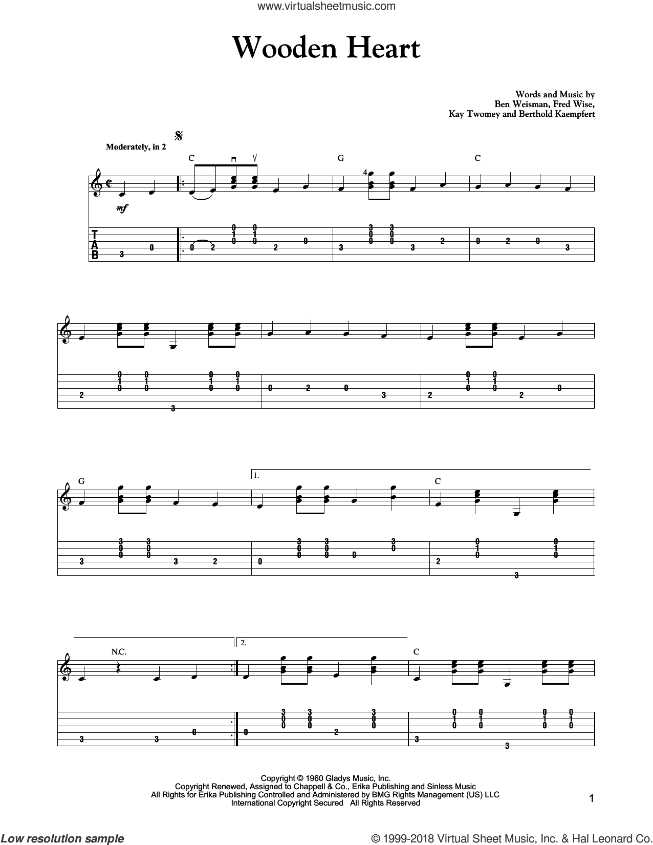 Wooden Heart sheet music for guitar solo by Carter Style Guitar, Mark Phillips, Elvis Presley and Fred Wise, intermediate guitar. Score Image Preview.