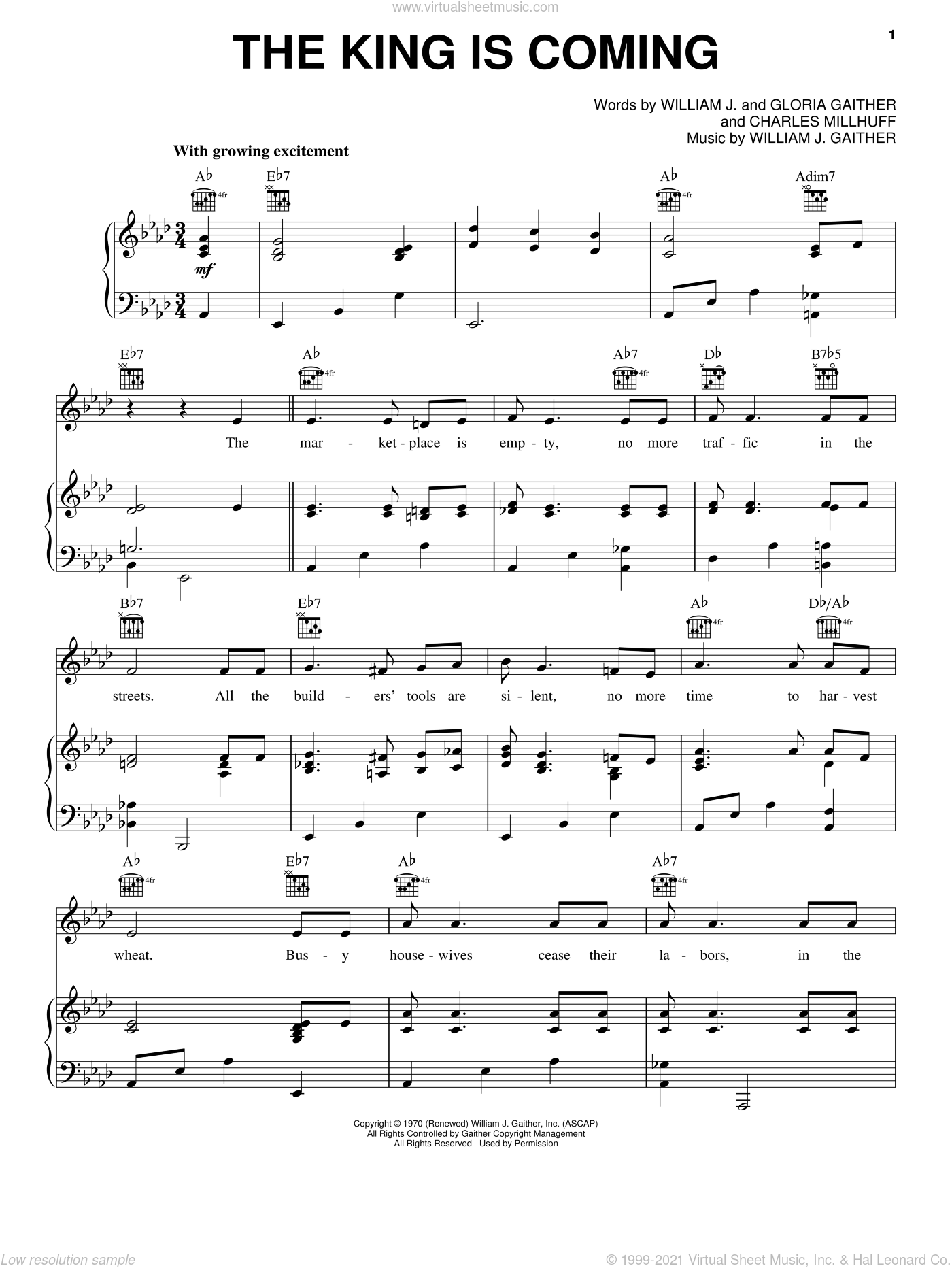 The King Is Coming sheet music for voice, piano or guitar by Gloria Gaither, Charles Millhuff and William J. Gaither. Score Image Preview.