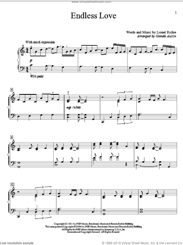 Endless Love sheet music for piano solo (elementary) by Lionel Richie & Diana Ross, Diana Ross, Glenda Austin and Lionel Richie, wedding score, beginner piano (elementary). Score Image Preview.