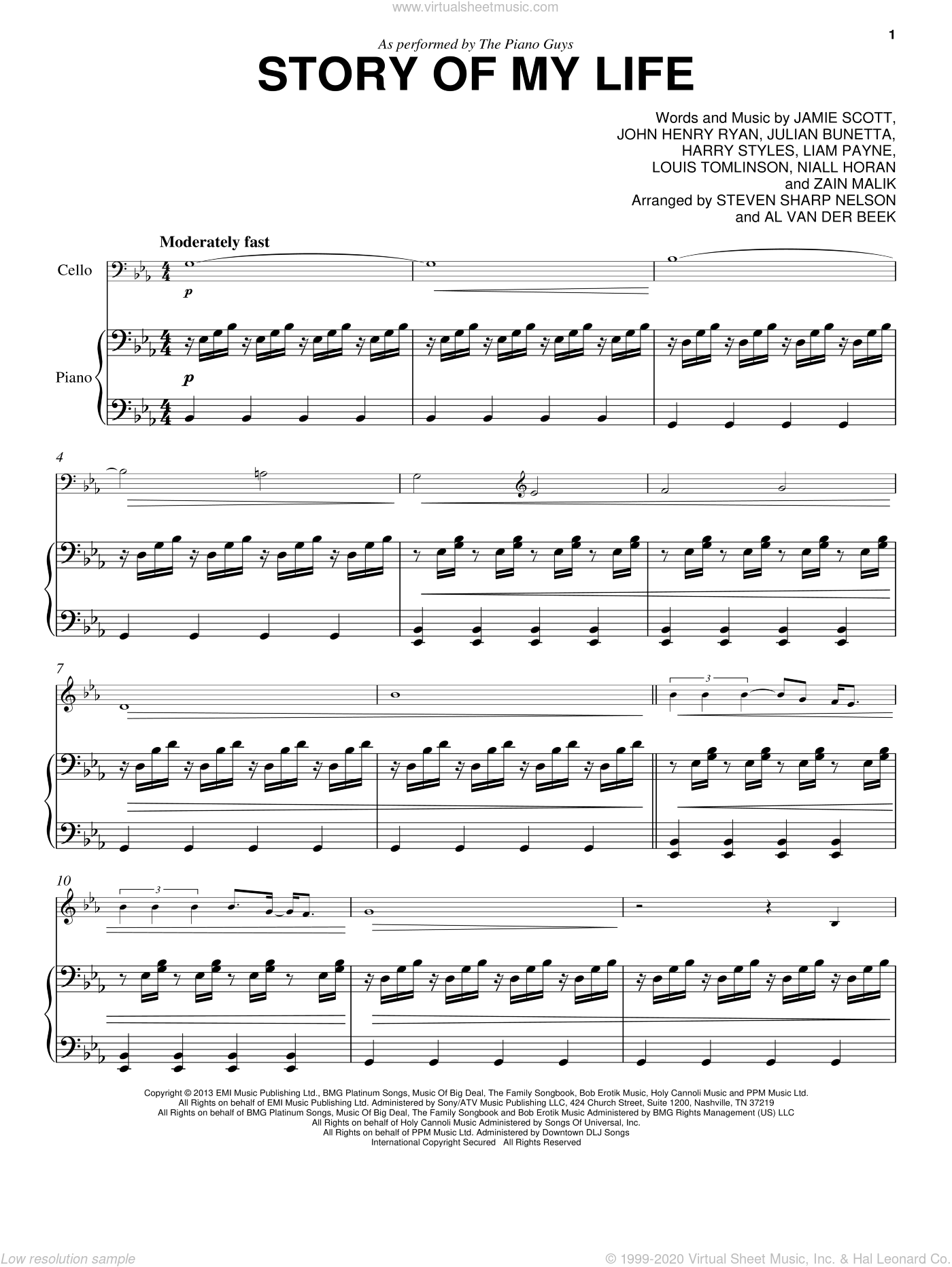Guys - Story Of My Life sheet music for cello and piano [PDF]