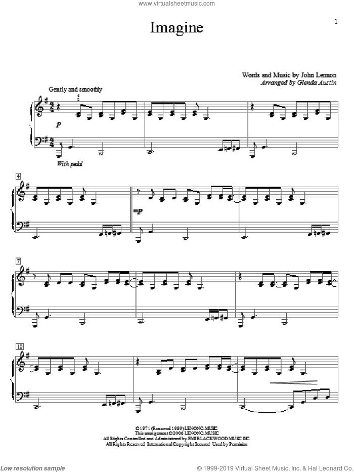 Imagine sheet music for piano solo (elementary) by John Lennon and Glenda Austin, beginner piano (elementary). Score Image Preview.