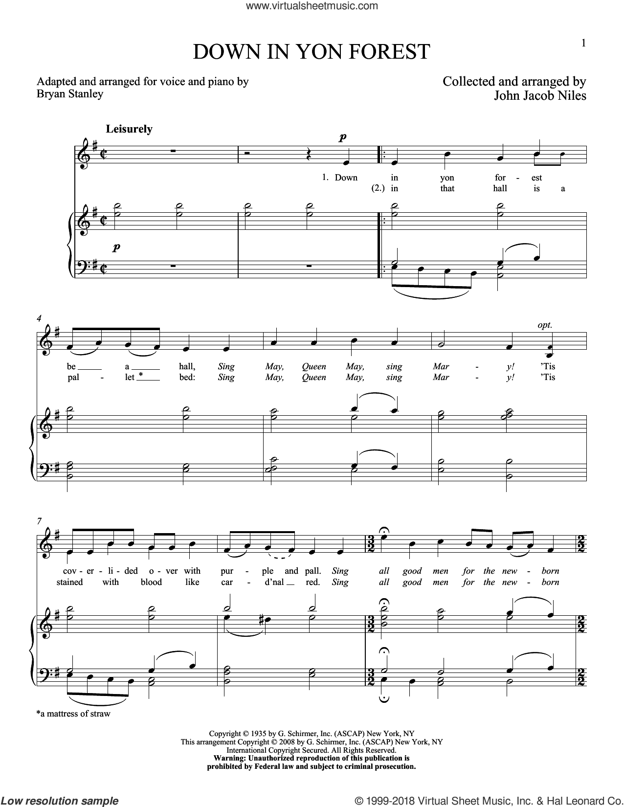 Down In Yon Forest sheet music for voice and piano (High ) by John Jacob Niles, classical score, intermediate voice. Score Image Preview.