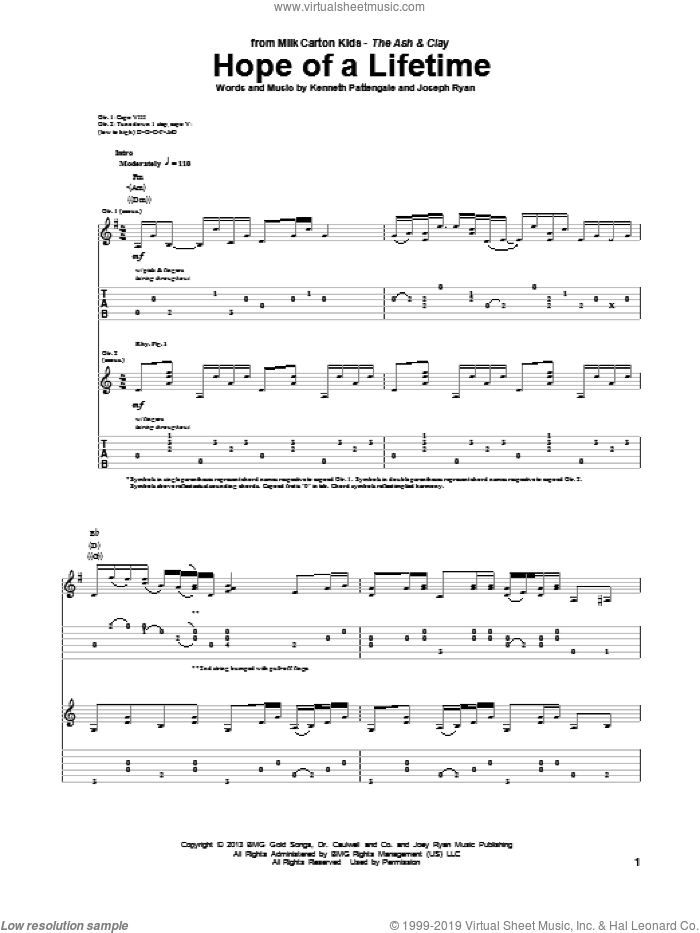 Hope Of A Lifetime sheet music for guitar (tablature) by Kenneth Pattengale, Milk Carton Kids and Joseph Ryan, intermediate skill level