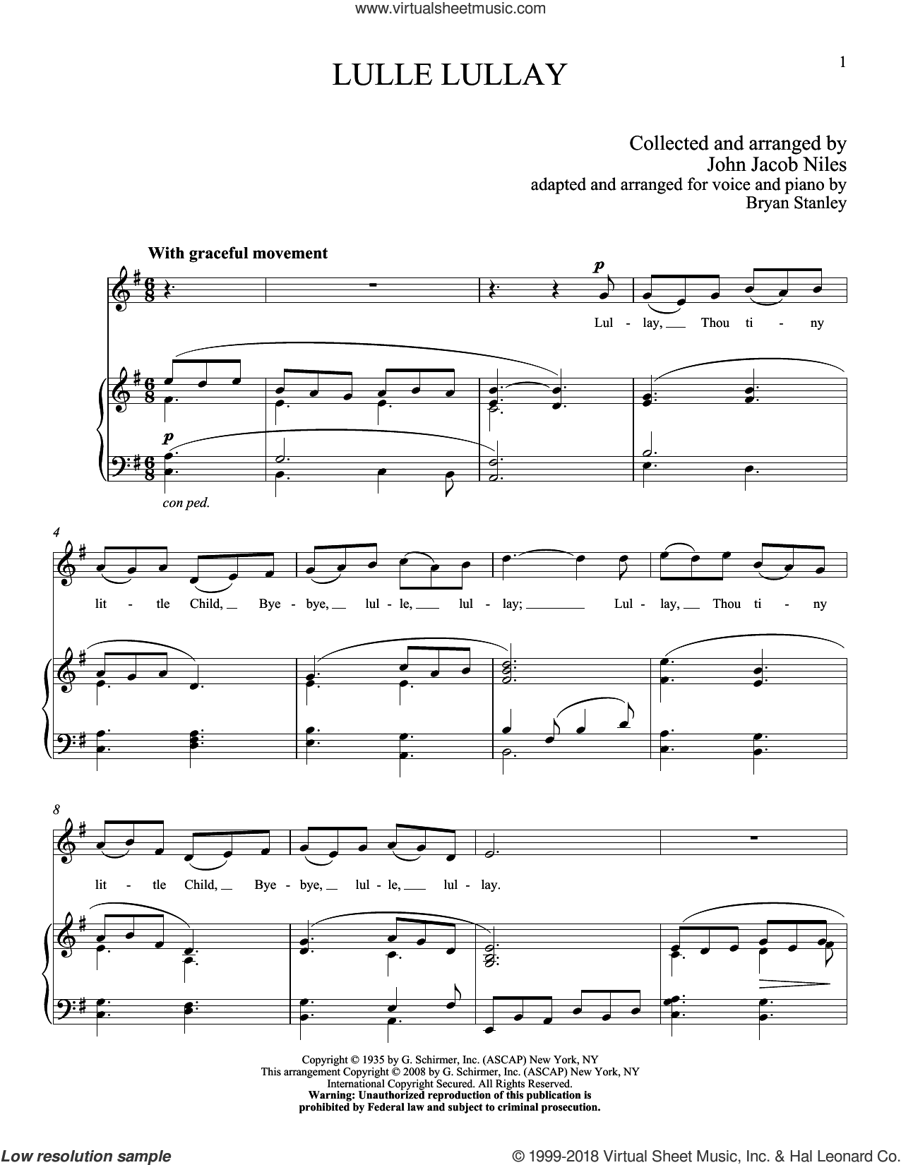 Lulle Lullay sheet music for voice and piano (High ) by John Jacob Niles. Score Image Preview.