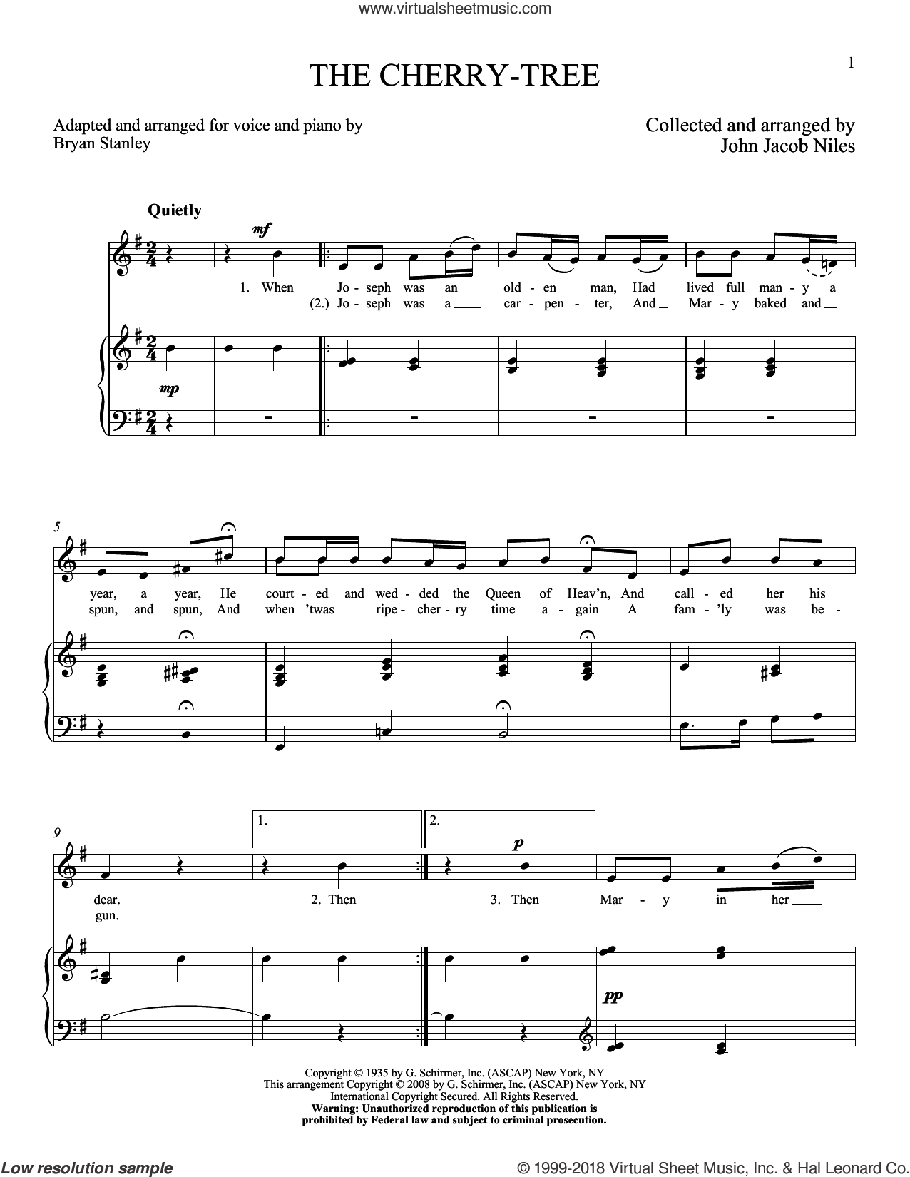 The Cherry-Tree sheet music for voice and piano (High Voice) by John Jacob Niles, intermediate skill level