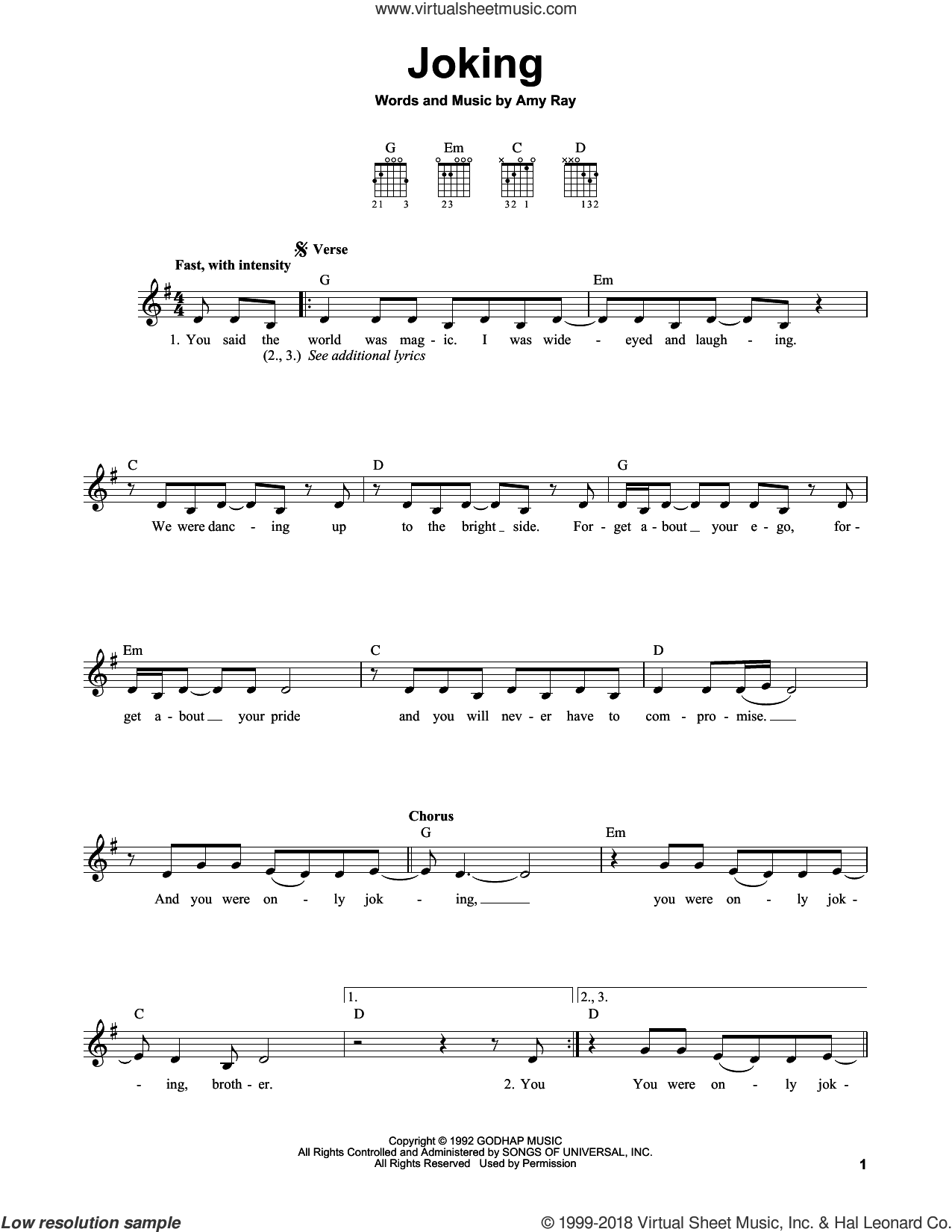 Joking sheet music for guitar solo (chords) by Indigo Girls and Amy Ray, easy guitar (chords)