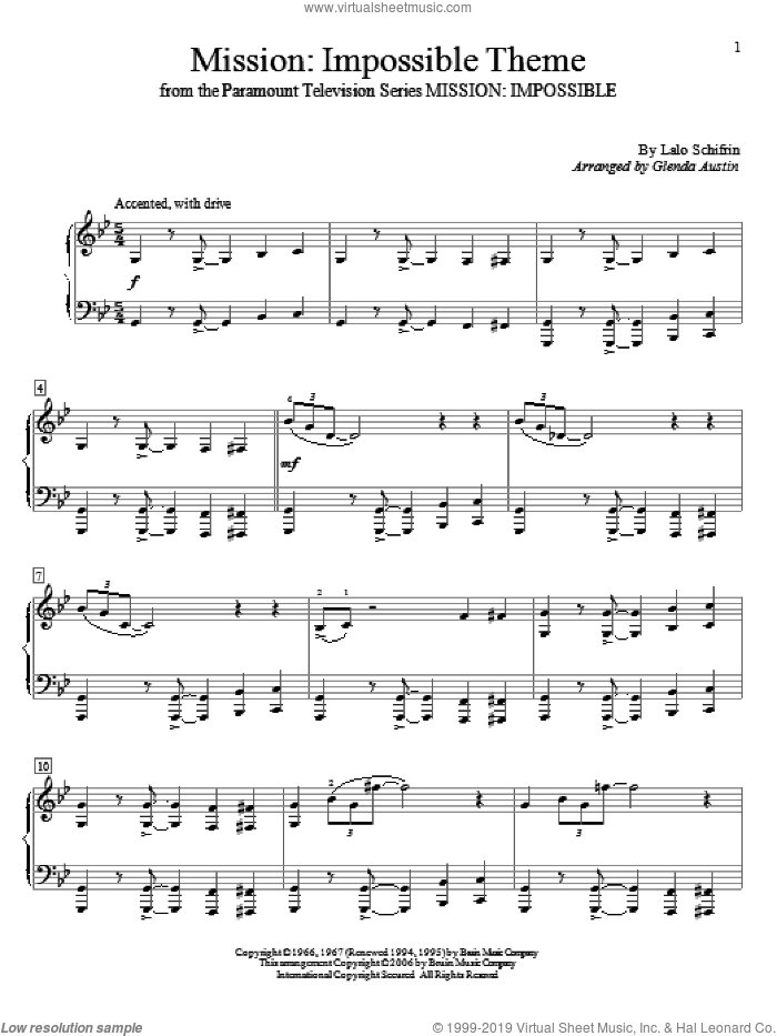 Mission: Impossible Theme sheet music for piano solo (elementary) by Lalo Schifrin