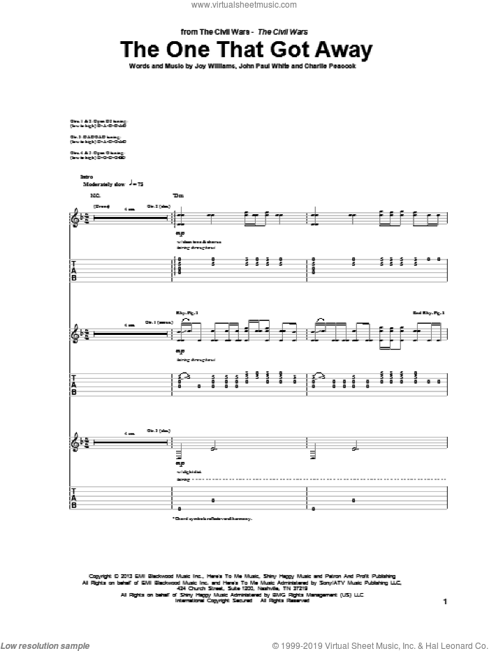 The One That Got Away sheet music for guitar (tablature) by The Civil Wars, Charlie Peacock, John Paul White and Joy Williams, intermediate skill level