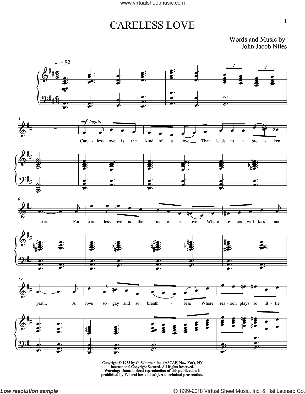 Careless Love sheet music for voice and piano (High Voice) by John Jacob Niles, intermediate skill level