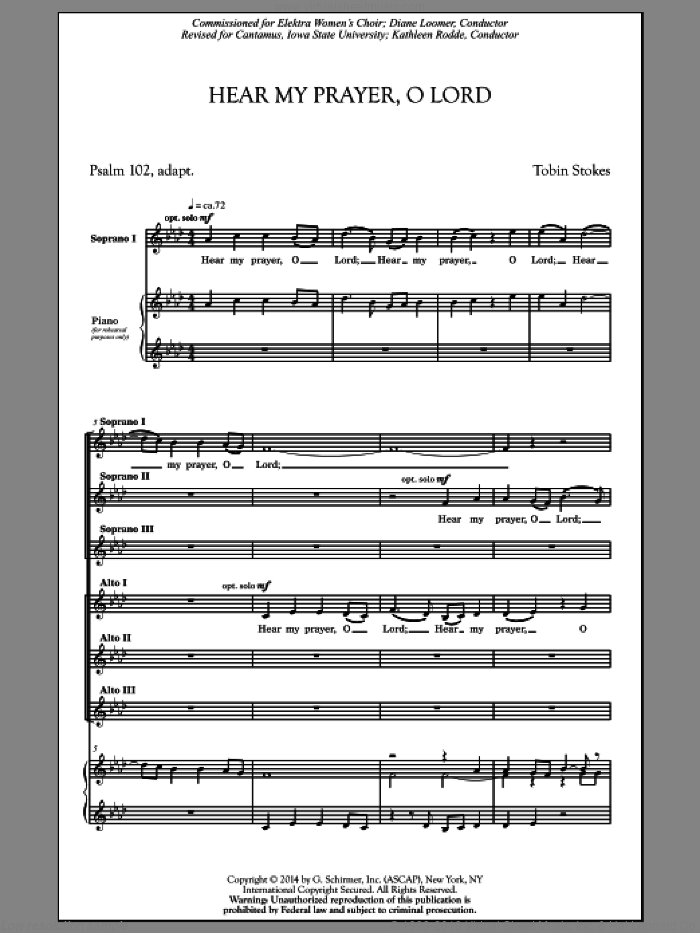 Hear My Prayer, Oh Lord sheet music for choir (SSA: soprano, alto) by Tobin Stokes, intermediate. Score Image Preview.