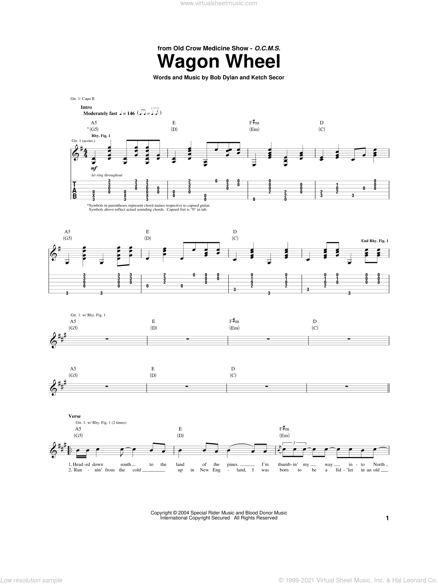 Wagon Wheel sheet music for guitar (tablature) by Ketch Secor