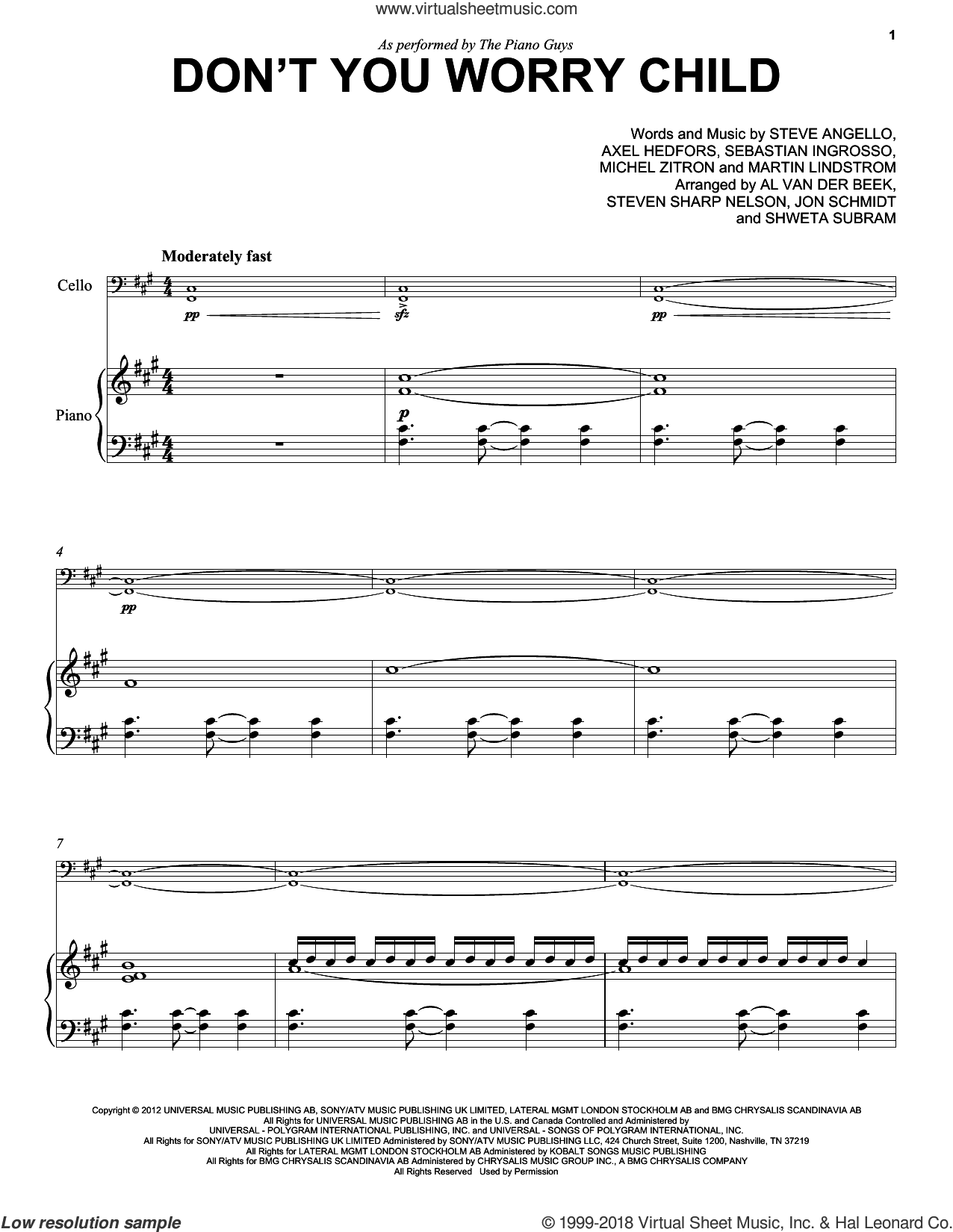Don't You Worry Child sheet music for cello and piano by The Piano Guys, Swedish House Mafia featuring John Martin, Axel Hedfors, Martin Lindstrom, Michel Zitron, Sebastian Ingrosso and Steve Angello, intermediate skill level
