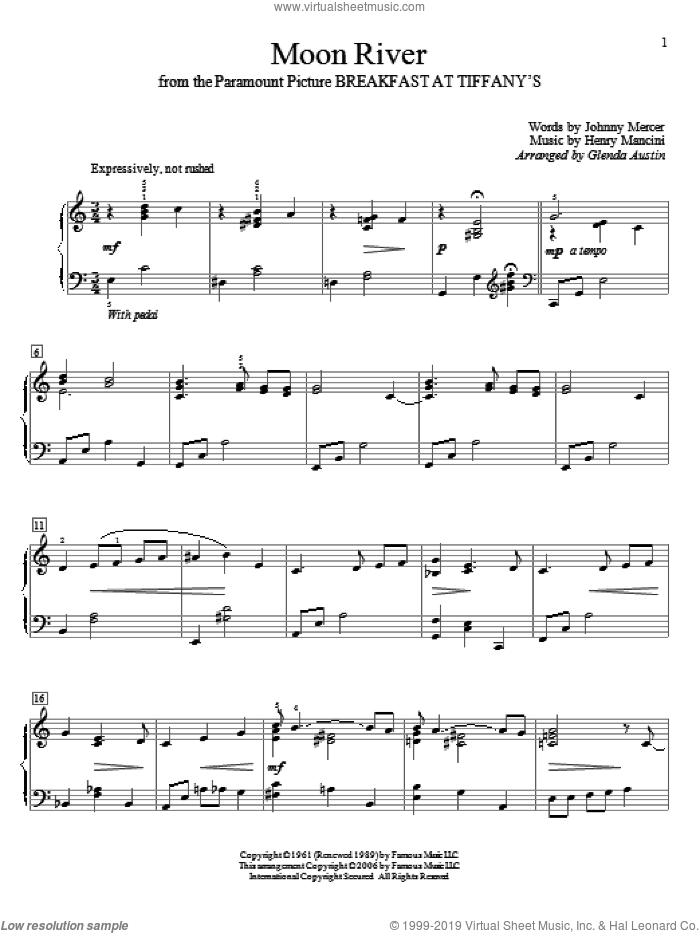 Moon River sheet music for piano solo (elementary) by Johnny Mercer, Glenda Austin, Andy Williams and Henry Mancini. Score Image Preview.