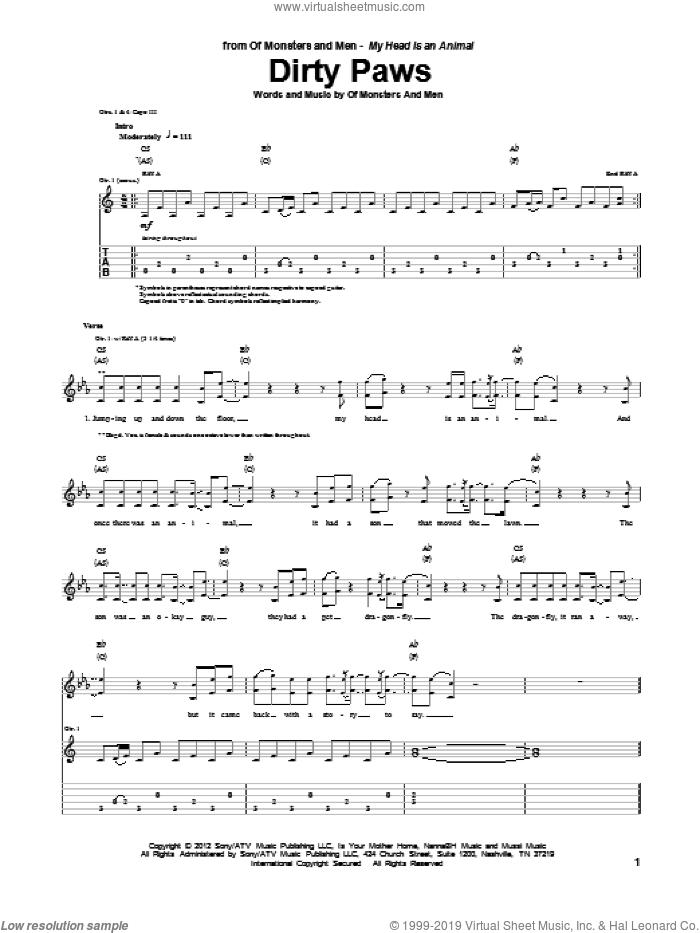 Dirty Paws sheet music for guitar (tablature) by Of Monsters And Men, intermediate skill level