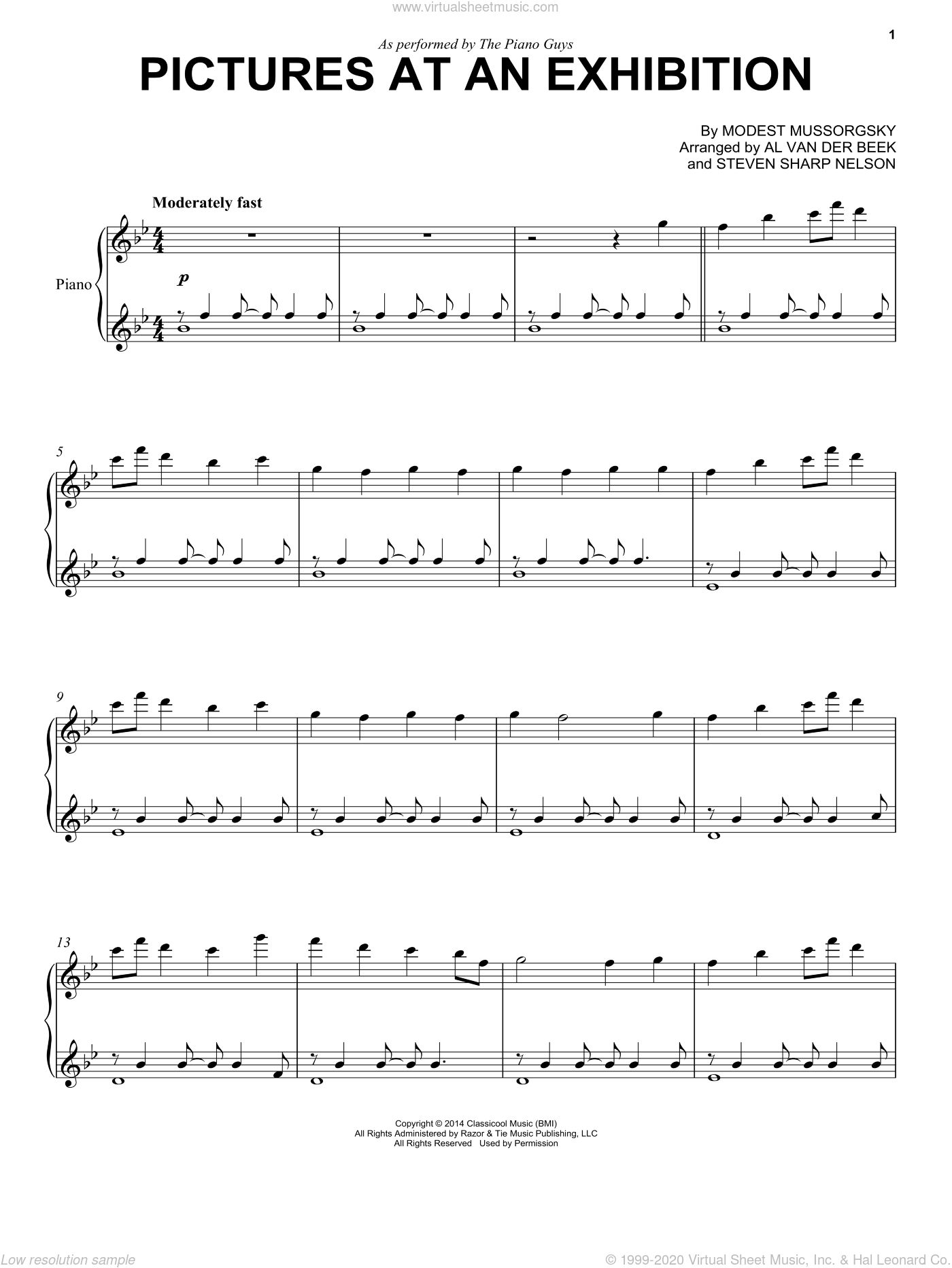Pictures At An Exhibition sheet music for piano solo by The Piano Guys and Modest Petrovic Mussorgsky, classical score, intermediate piano. Score Image Preview.