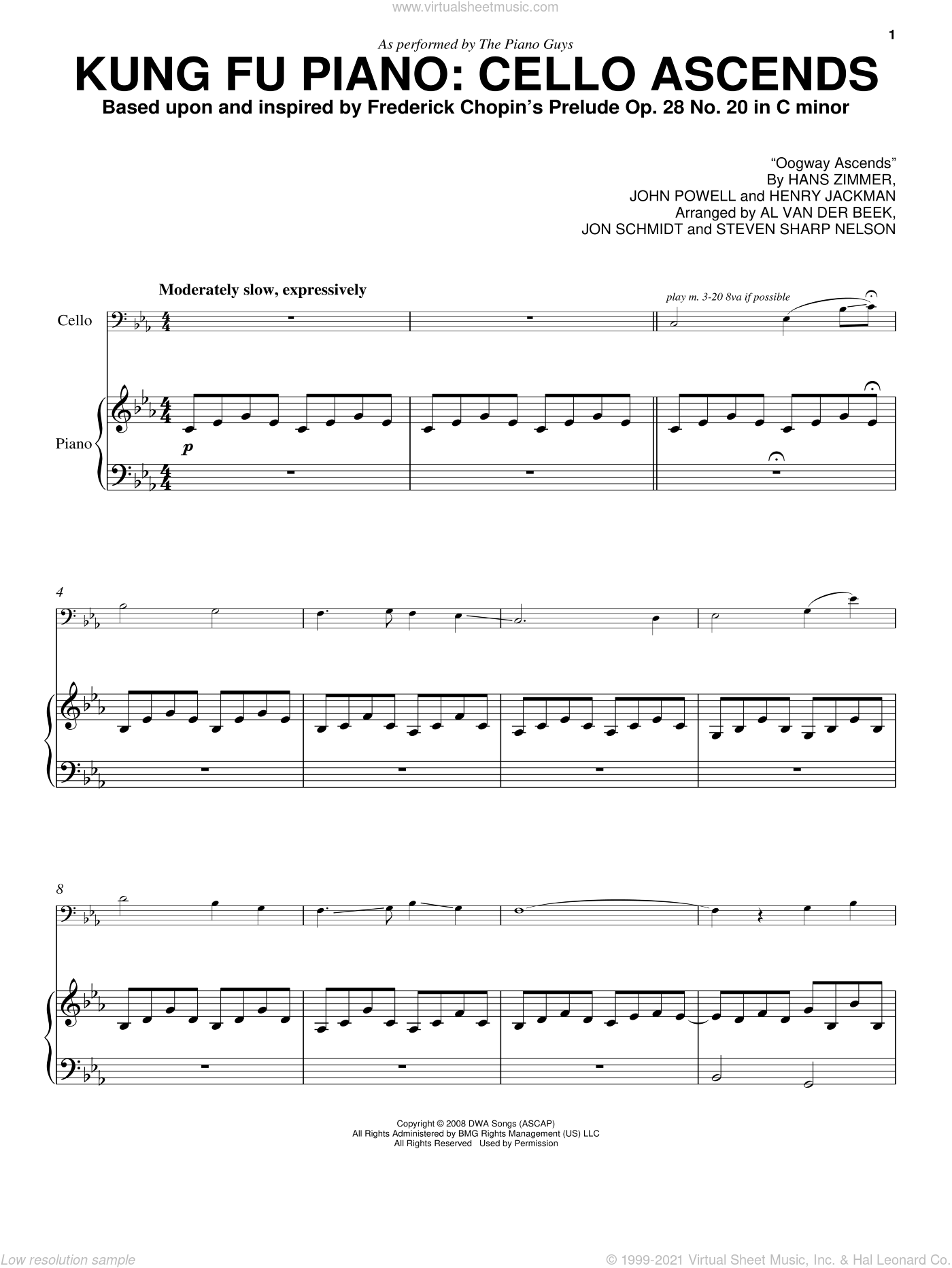 Kung Fu Piano: Cello Ascends sheet music for piano solo by Steven Sharp Nelson, The Piano Guys, Hans Zimmer, Henry Jackman, John Powell and Jon Schmidt. Score Image Preview.