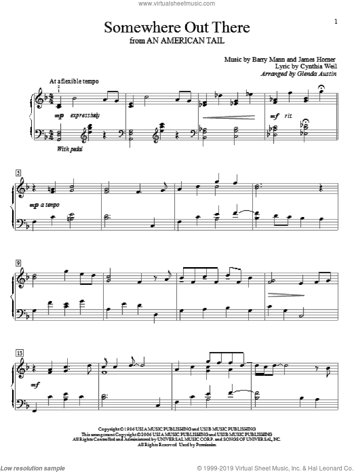 Somewhere Out There sheet music for piano solo (elementary) by James Horner, Glenda Austin, Linda Ronstadt & James Ingram, Barry Mann and Cynthia Weil, beginner piano (elementary). Score Image Preview.
