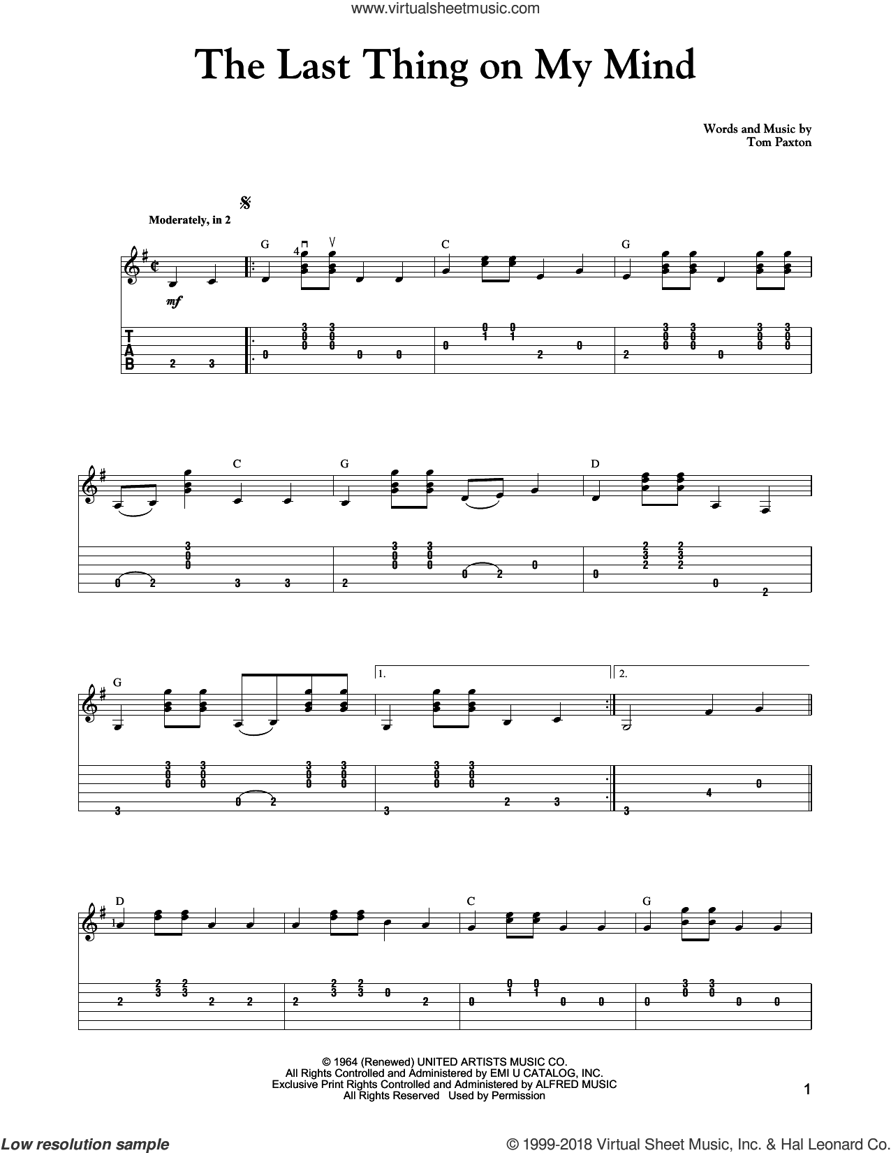 The Last Thing On My Mind sheet music for guitar solo by Carter Style Guitar and Tom Paxton. Score Image Preview.