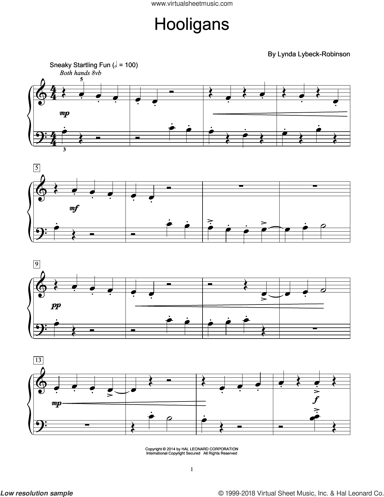 Hooligans sheet music for piano solo (elementary) by Lynda Lybeck-Robinson, beginner piano (elementary). Score Image Preview.
