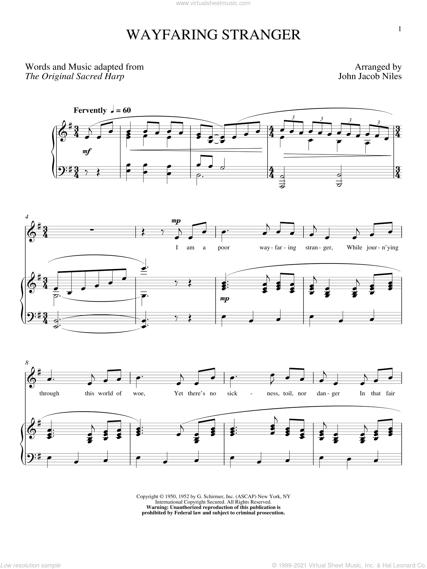 Wayfaring Stranger sheet music for voice and piano (High Voice) by John Jacob Niles, intermediate skill level