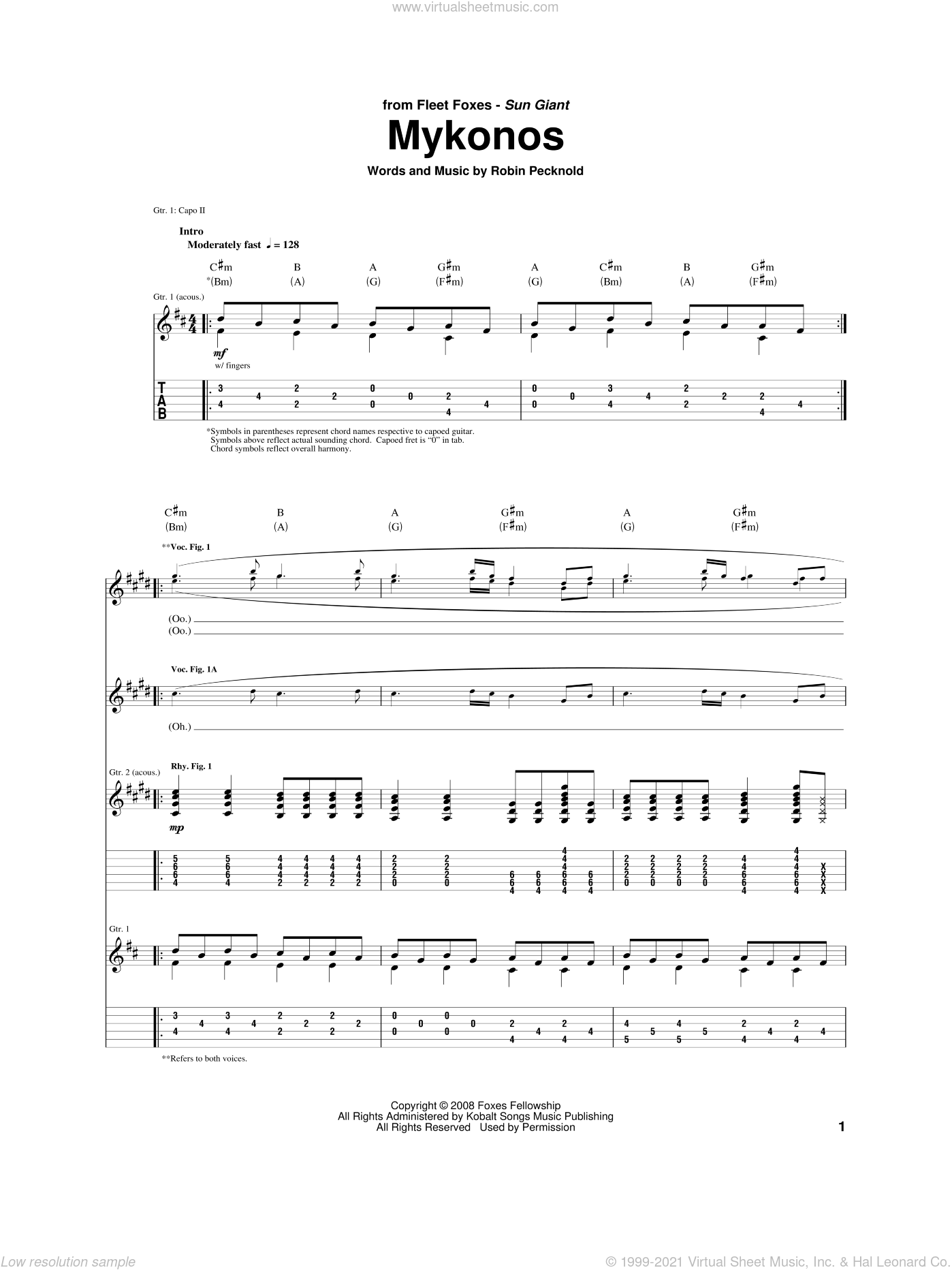Mykonos sheet music for guitar (tablature) by Fleet Foxes, intermediate. Score Image Preview.